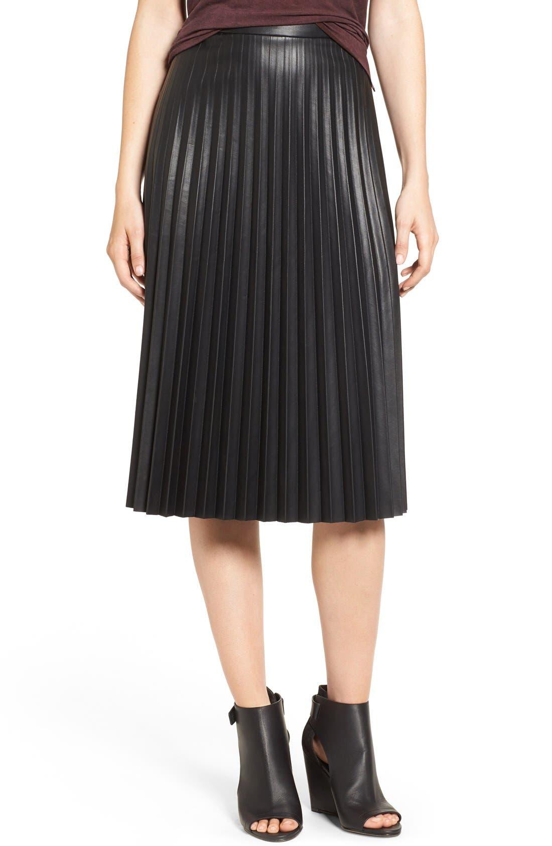 Faux Leather Pleat Skirt,                         Main,                         color, Black