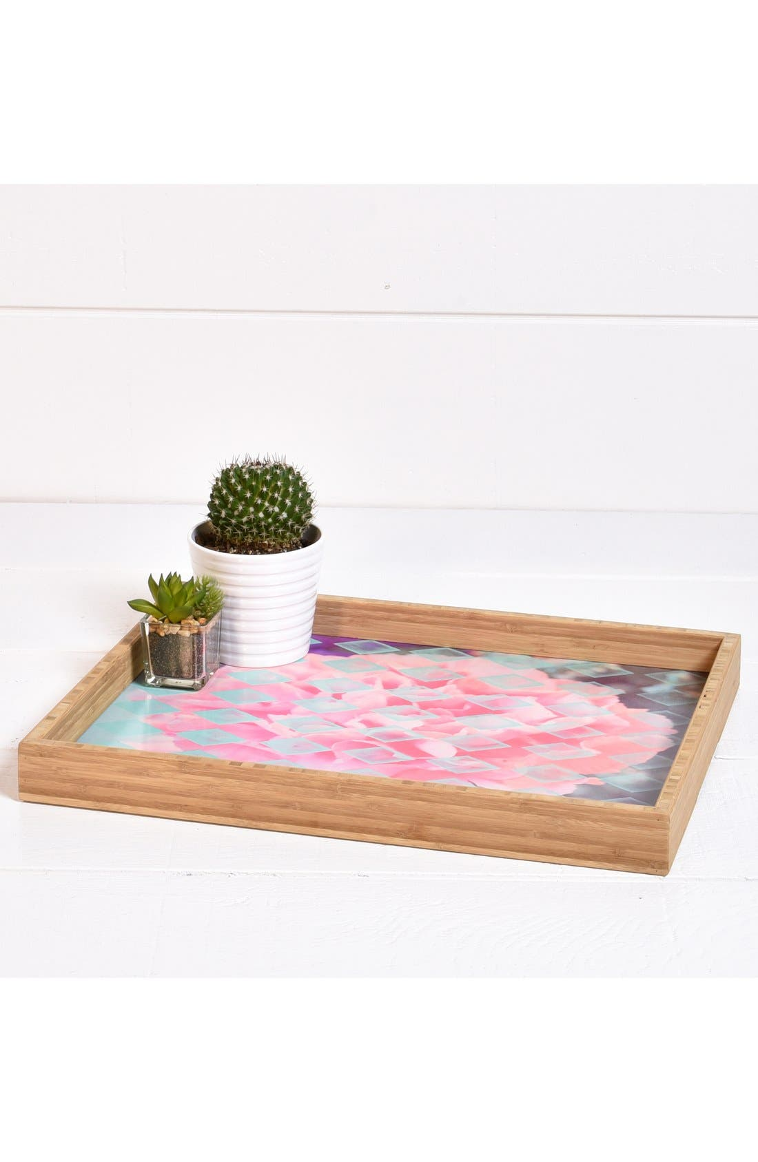 'Floral Diamonds' Decorative Serving Tray,                             Alternate thumbnail 3, color,                             Pink