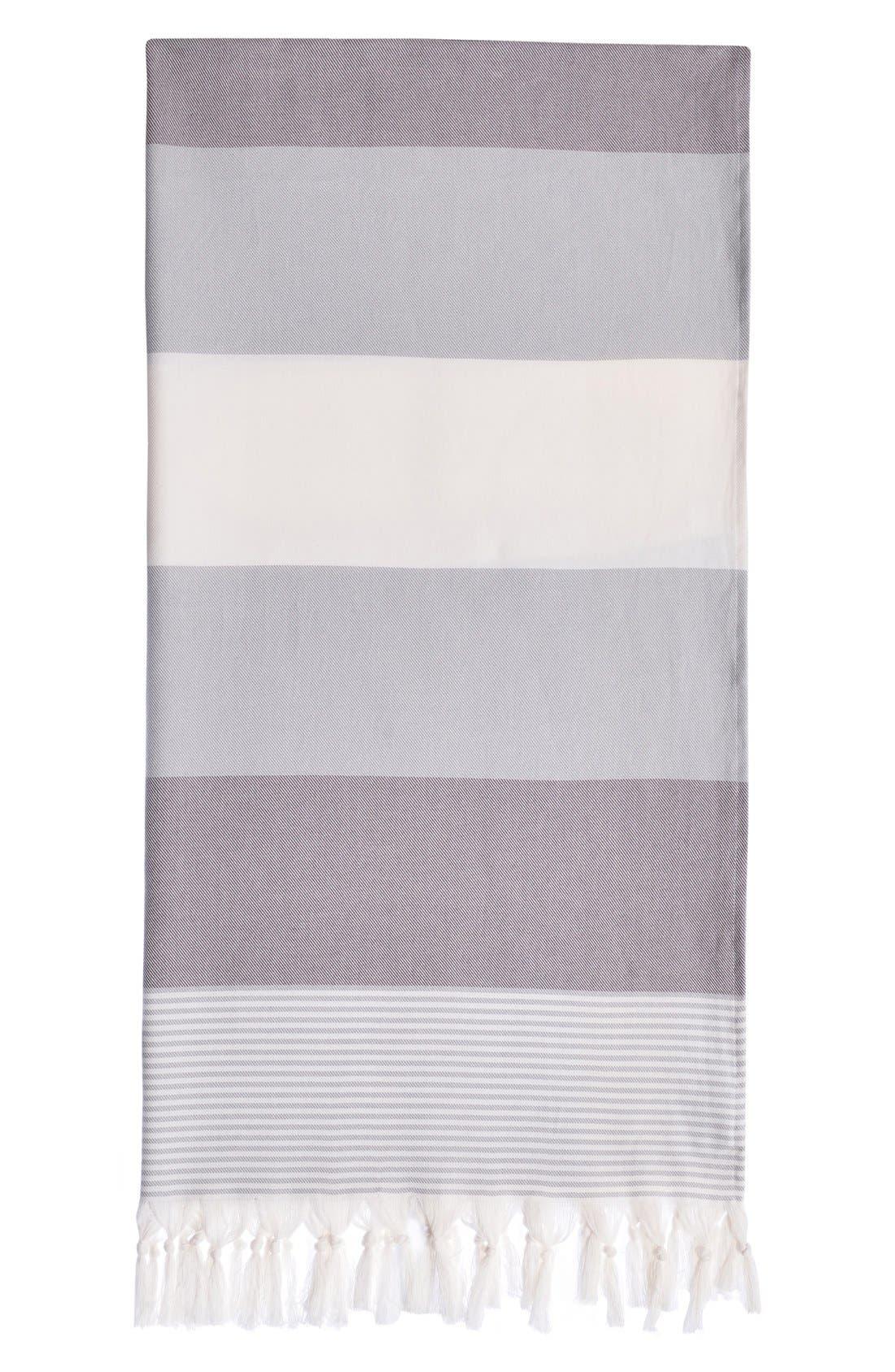 'Sea Waves' Turkish Pestemal Towel,                         Main,                         color, Grey