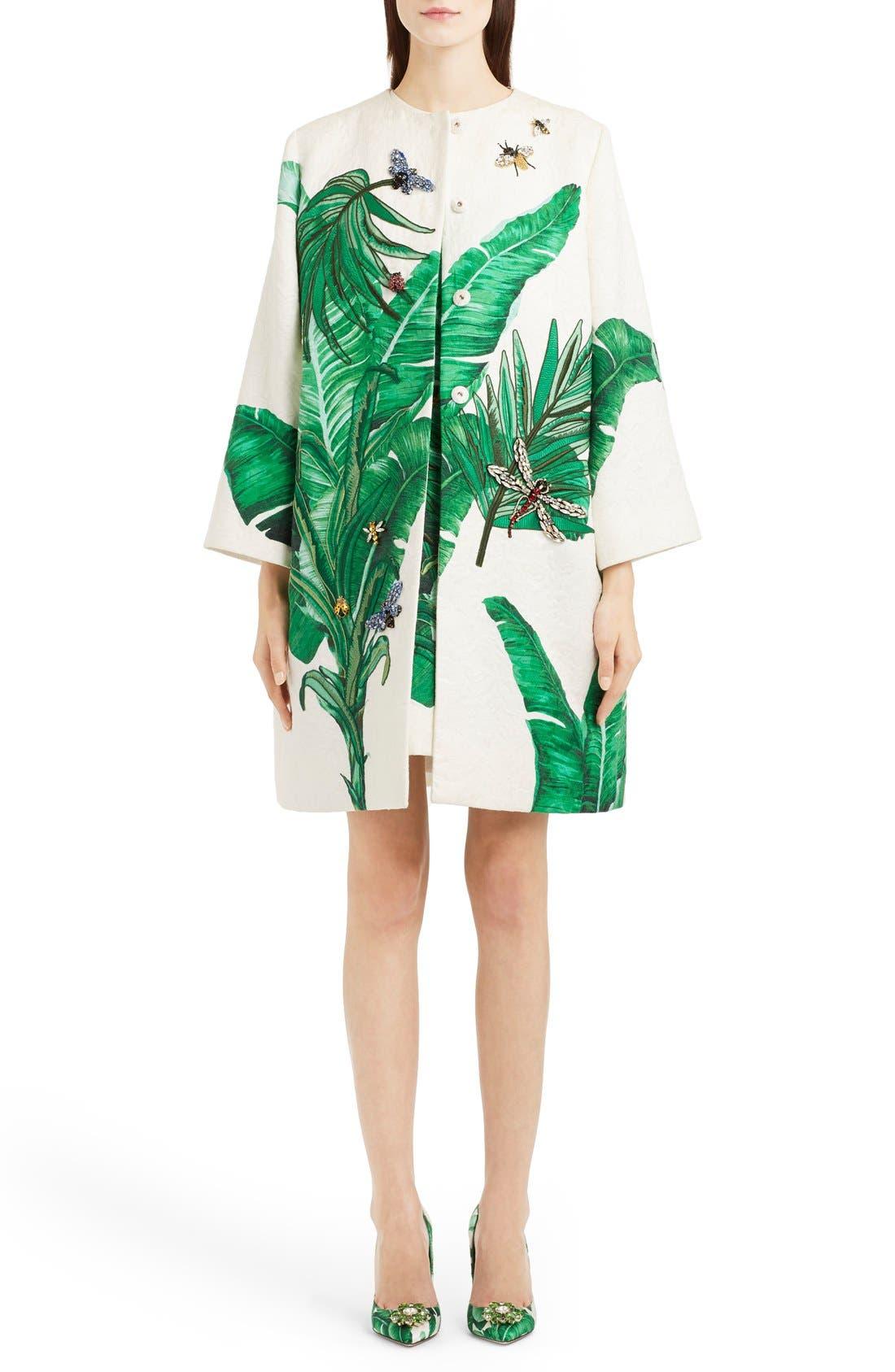 Crystal Embellished Banana Leaf Print Brocade Topper,                         Main,                         color, Green/White