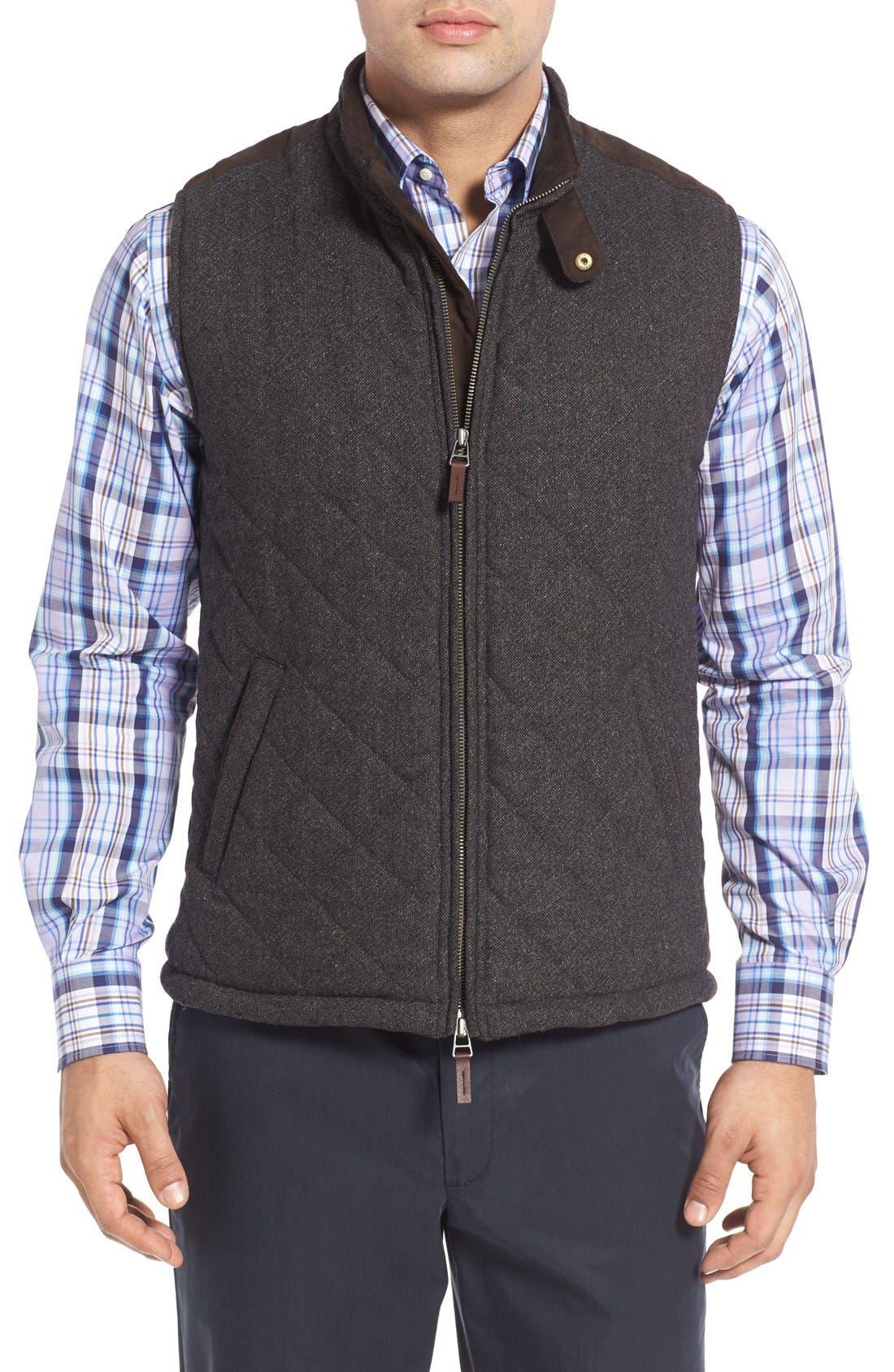 John W. Nordstrom Regular Fit Quilted Tweed Vest,                         Main,                         color, Grey Phantom Tweed