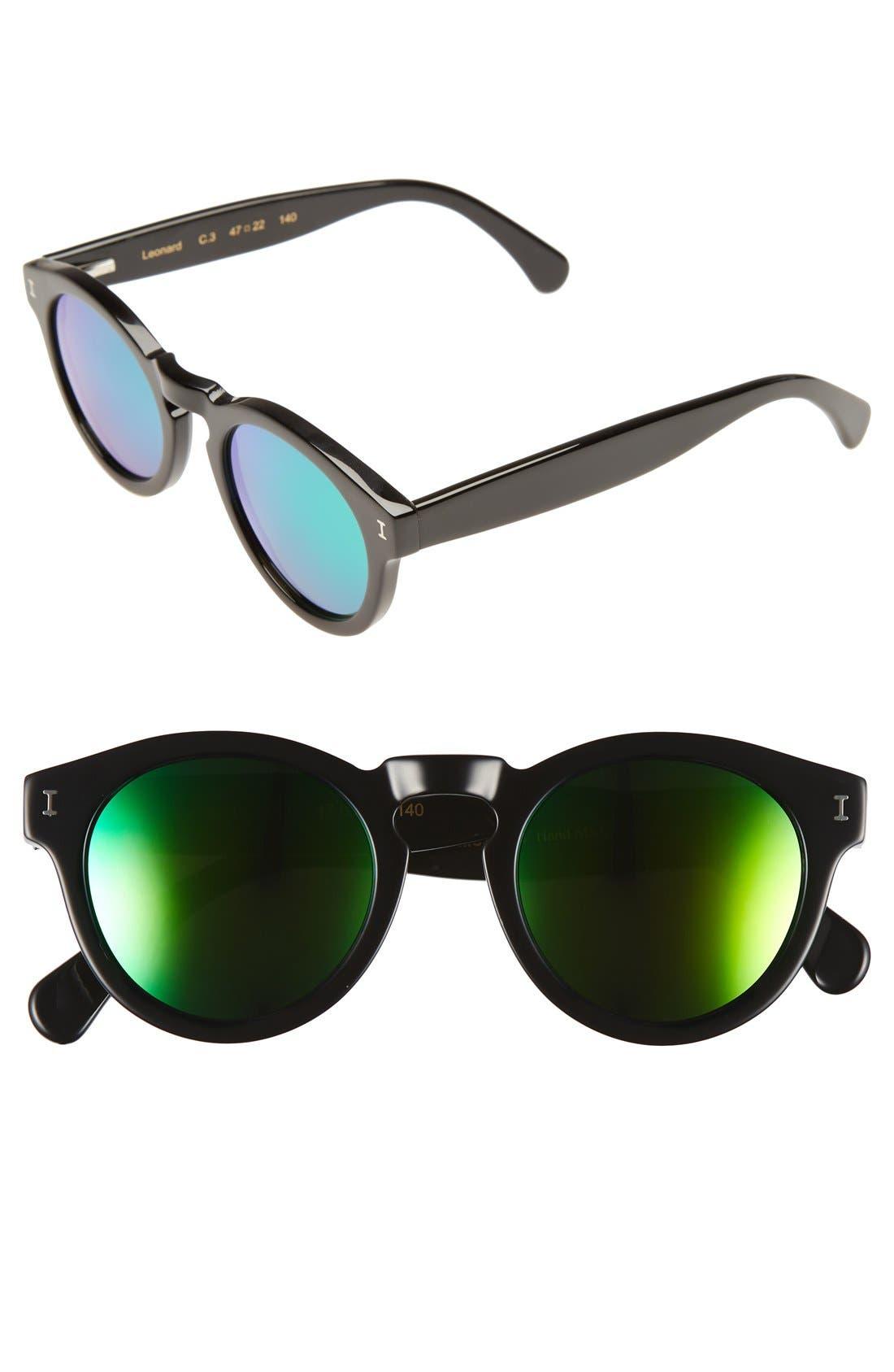 'Leonard' 47mm Sunglasses,                         Main,                         color, Black/ Green