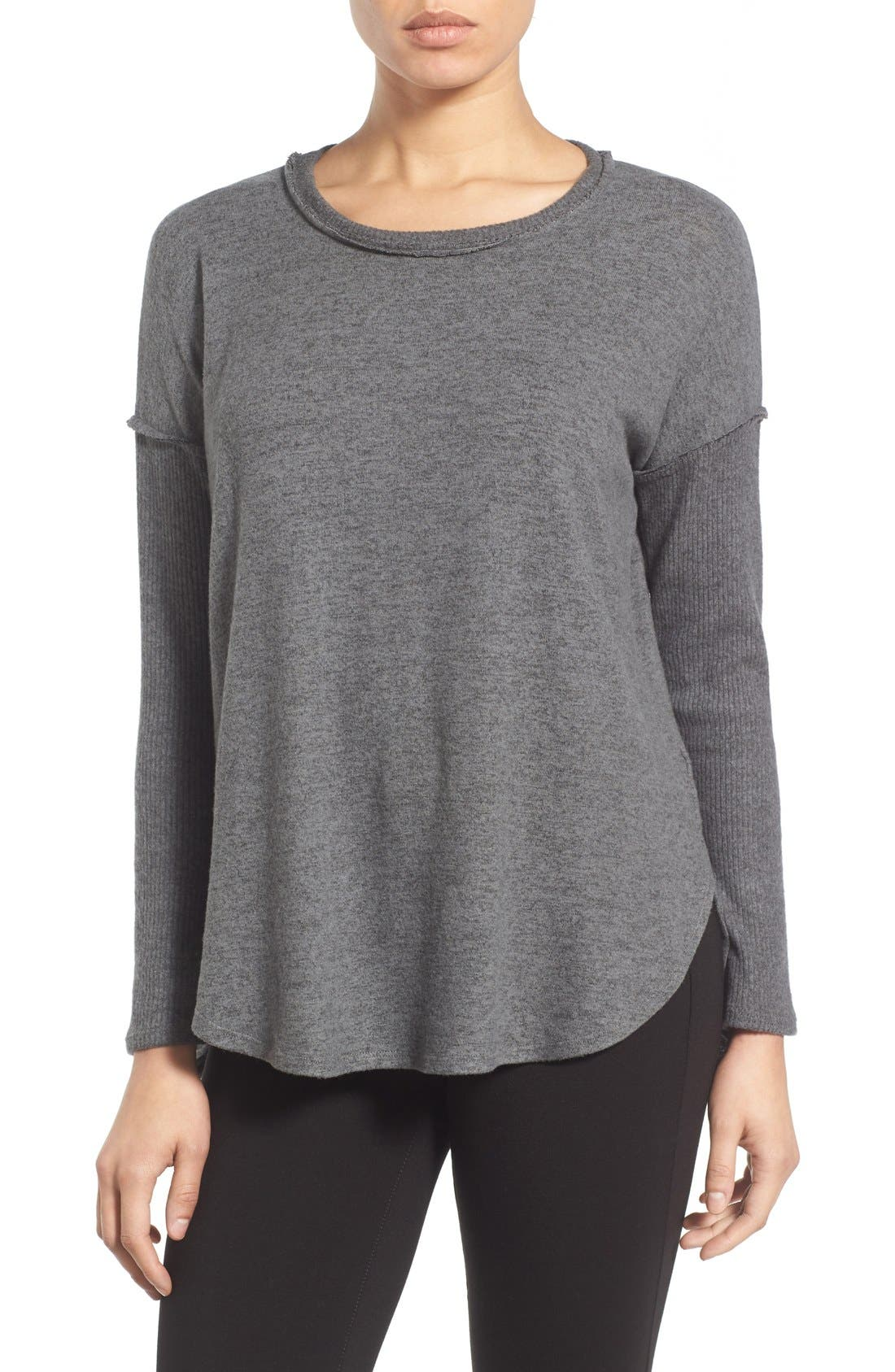 Rib Long Sleeve Fuzzy Top,                         Main,                         color, Charcoal