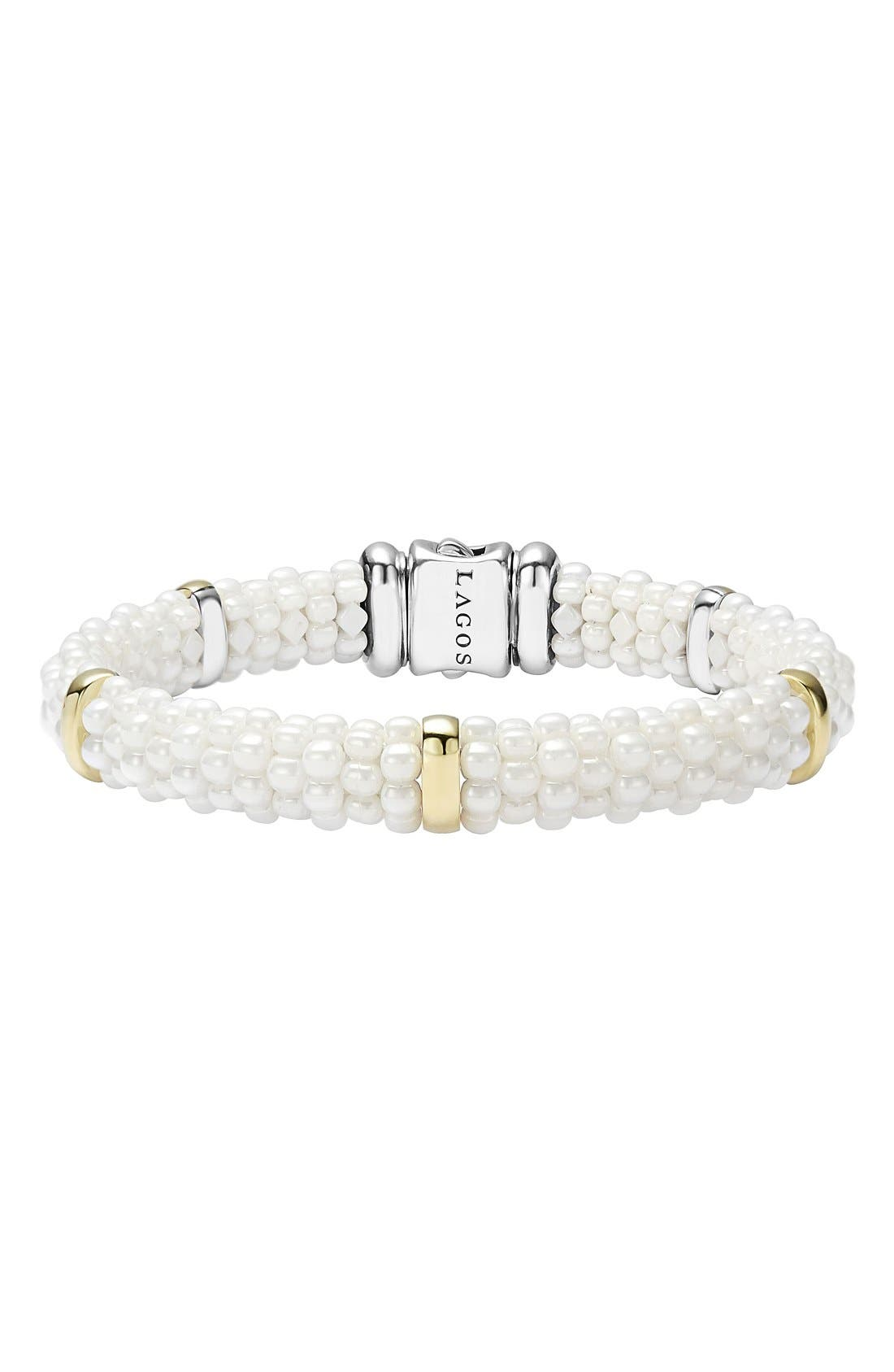 'White Caviar' Station Bracelet,                             Main thumbnail 1, color,                             White Caviar