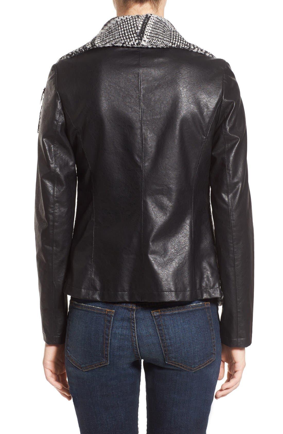 Fringe Trim Glen Plaid Faux Leather Moto Jacket,                             Alternate thumbnail 2, color,                             Black/ White Plaid