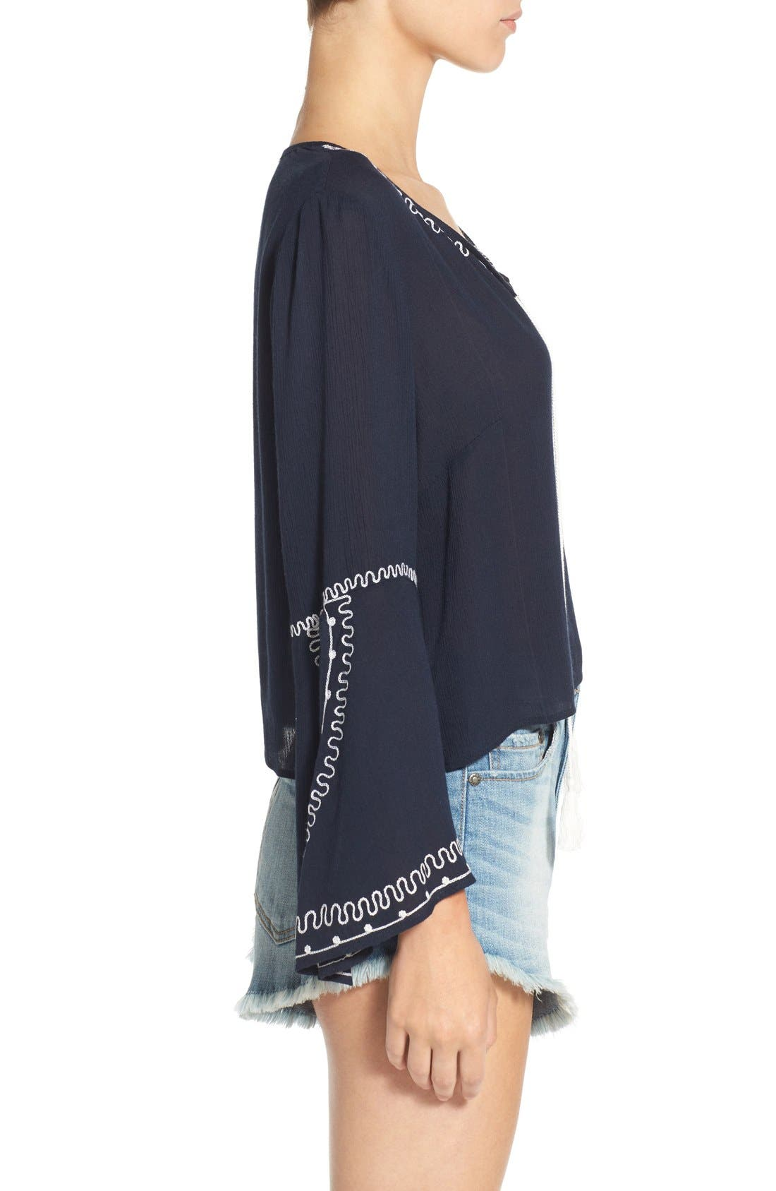 Alternate Image 3  - Band of Gypsies Embroidered Bell Sleeve Blouse