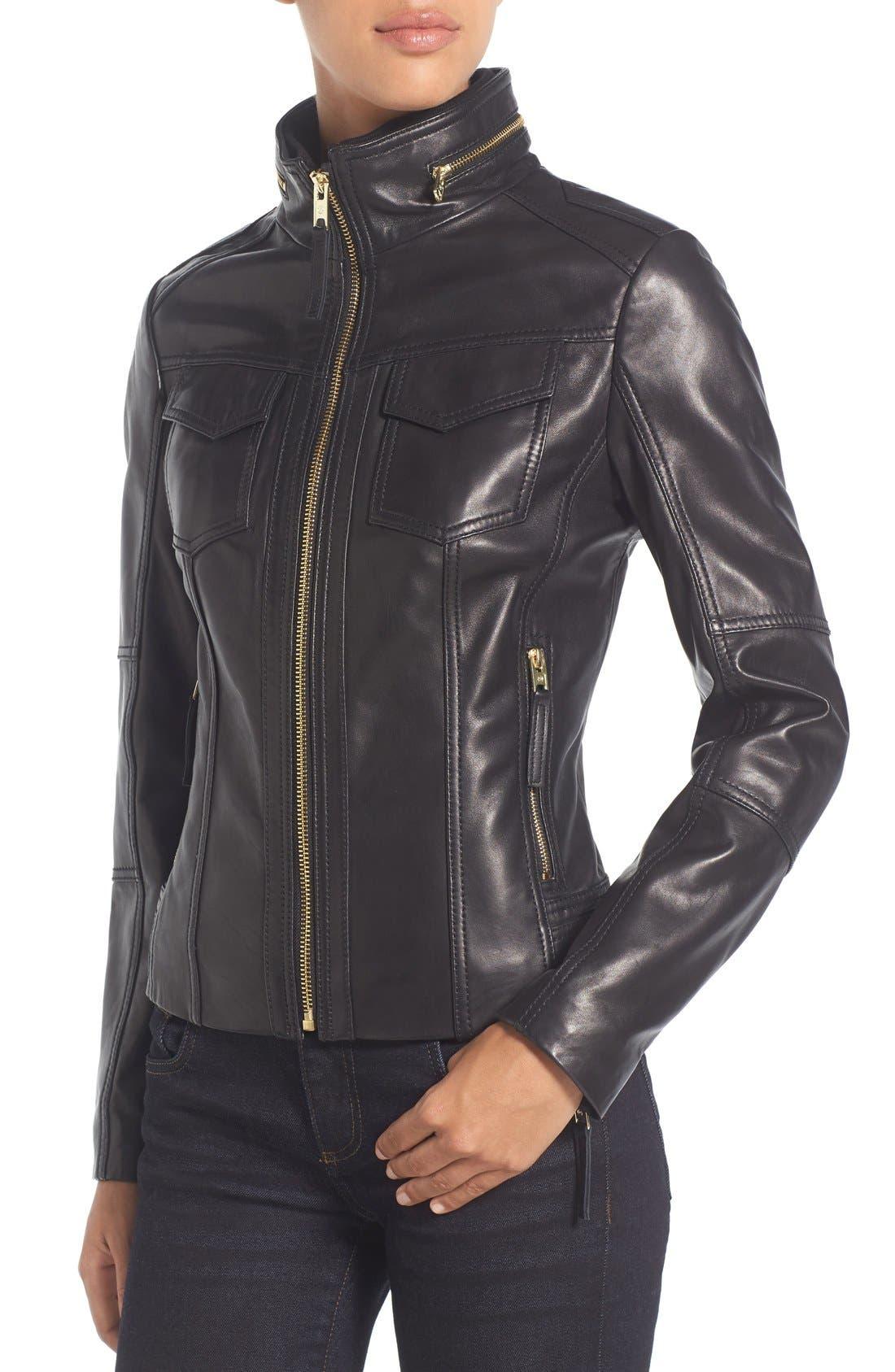 Front Zip Leather Jacket,                             Alternate thumbnail 4, color,                             Black