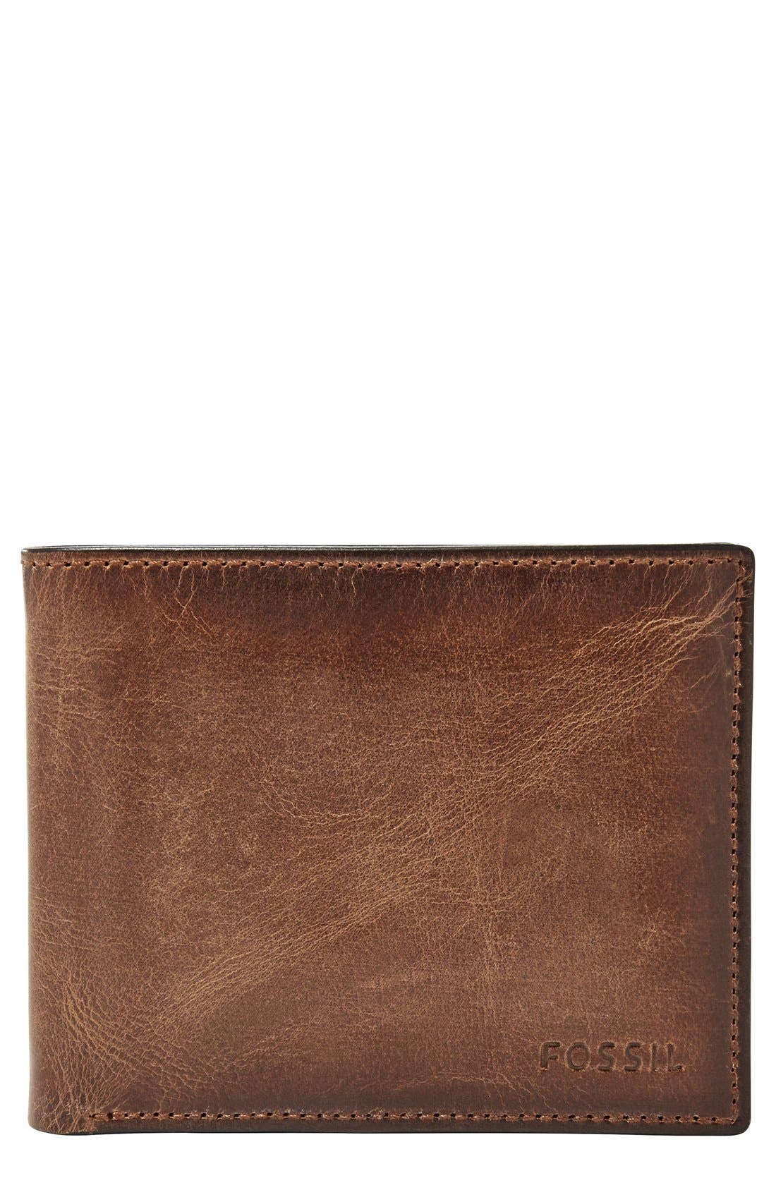 'Derrick' Leather Flip Trifold Wallet,                         Main,                         color, Brown