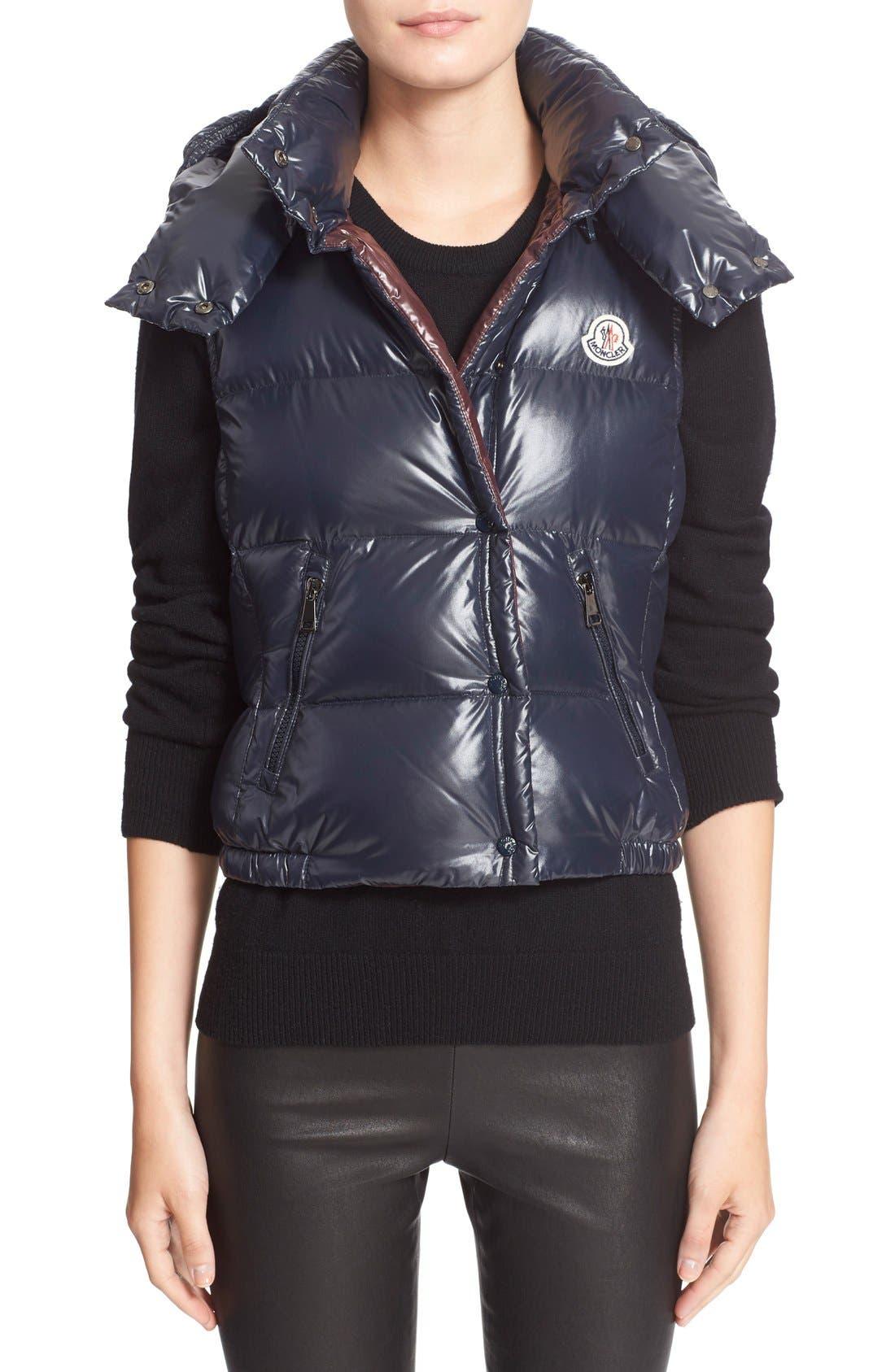 MONCLER Galene Water Resistant Shiny Nylon Hooded Down Vest