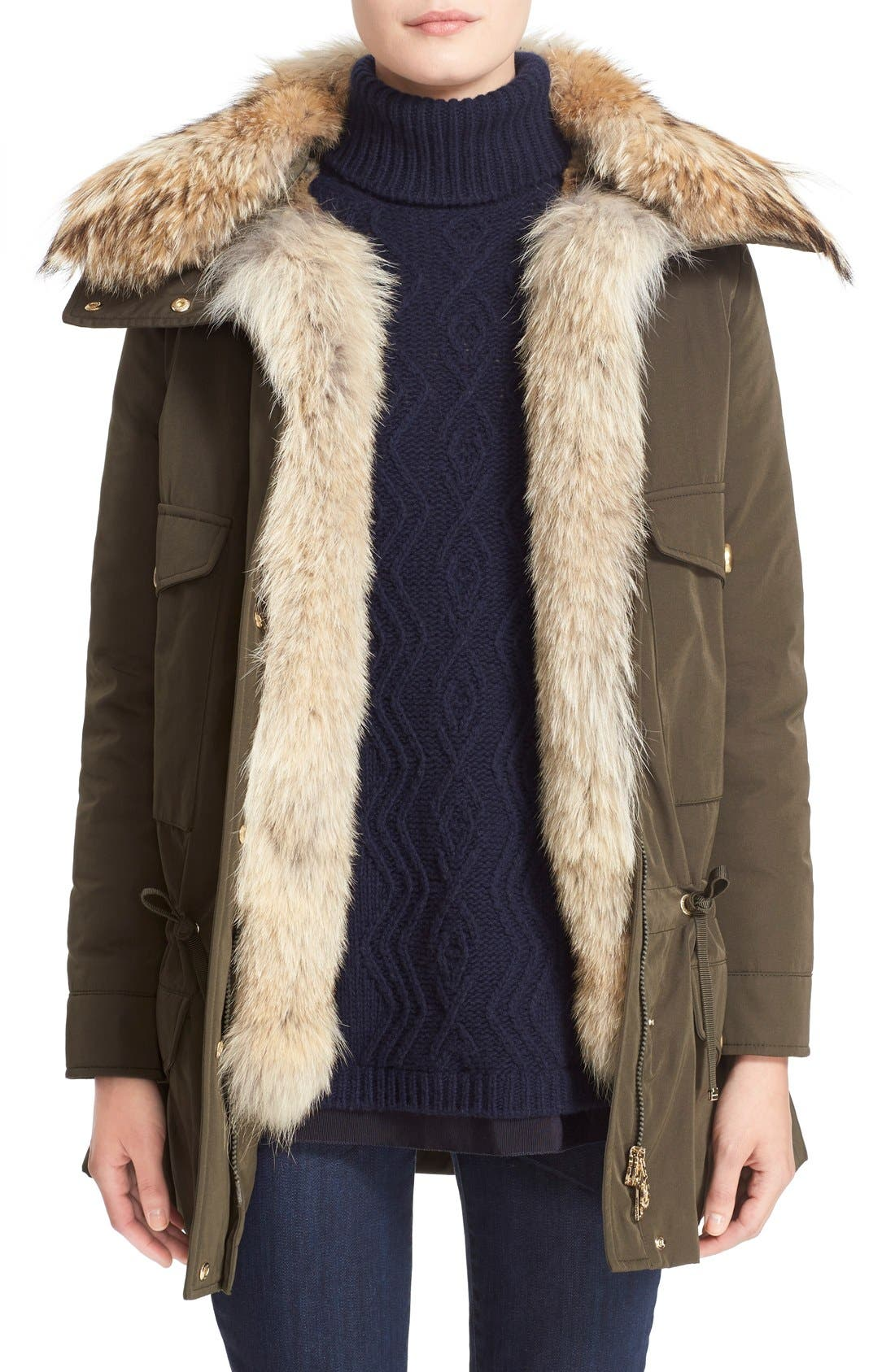 'Margarita' Down Jacket with Removable Genuine Coyote Collar and Rabbit Fur Vest,                         Main,                         color, Olive