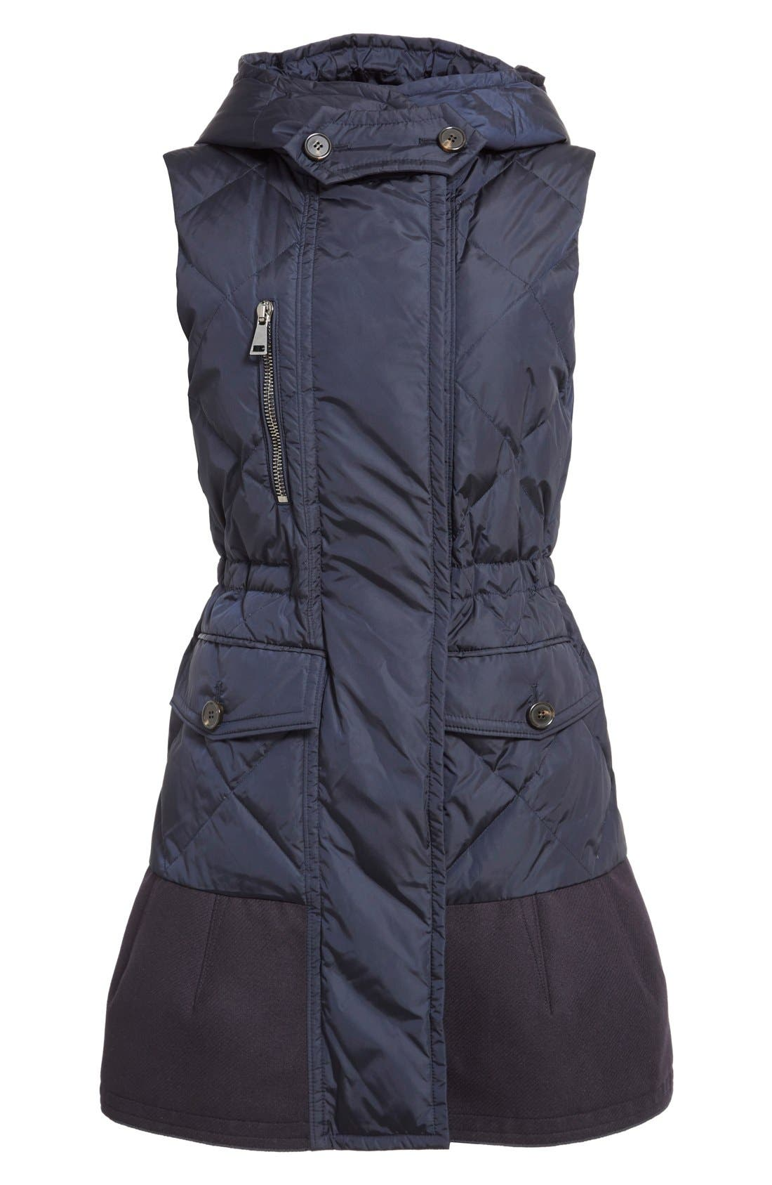 'Eles' Water Resistant Quilted Hooded Down Vest,                             Alternate thumbnail 4, color,                             Navy