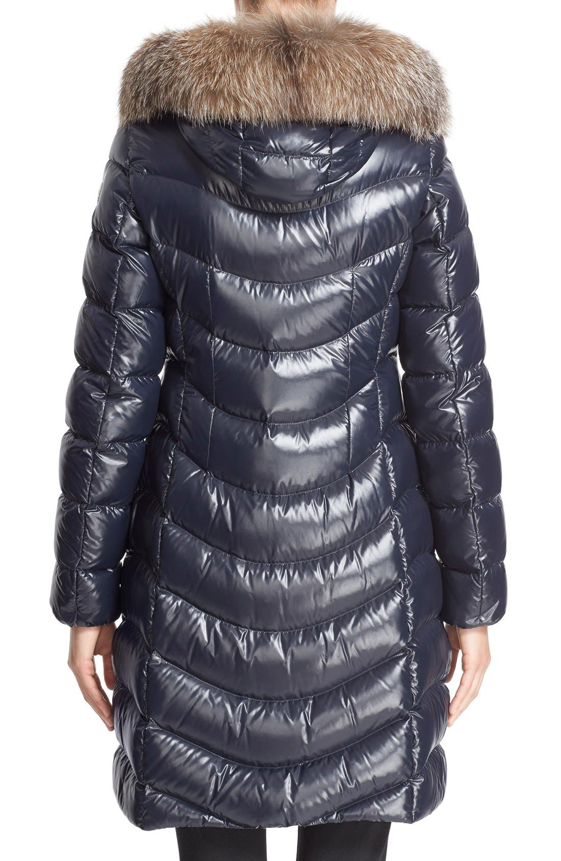 'Aphia' Water Resistant Shiny Nylon Down Puffer Coat with Removable Genuine Fox Fur Trim,                             Alternate thumbnail 2, color,                             Navy