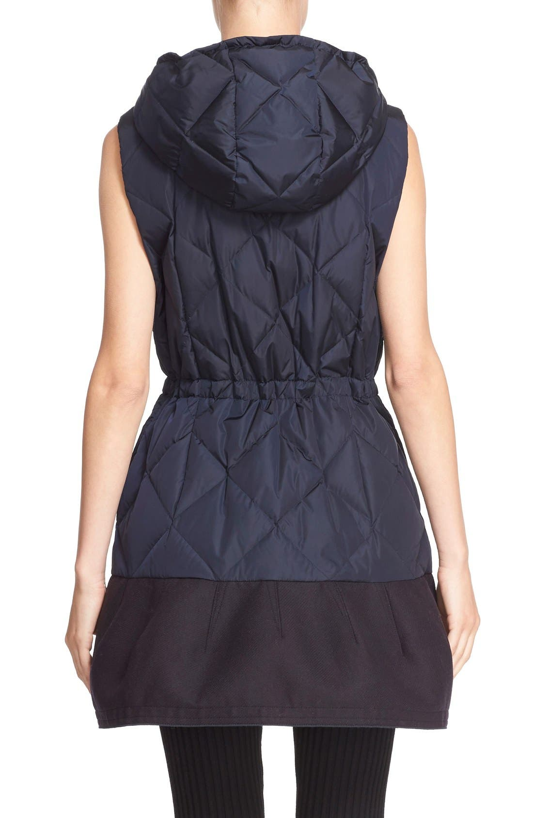 'Eles' Water Resistant Quilted Hooded Down Vest,                             Alternate thumbnail 2, color,                             Navy