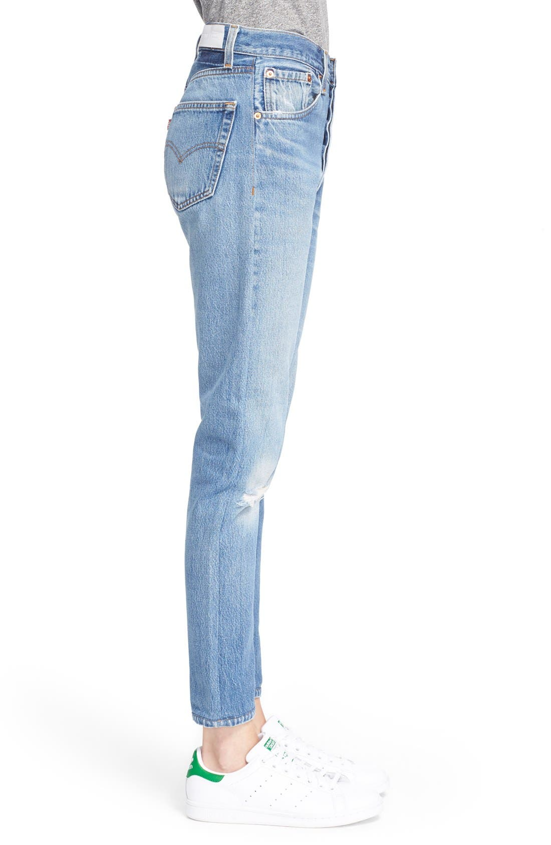The High Waist Reconstructed Jeans,                             Alternate thumbnail 3, color,                             Destruction