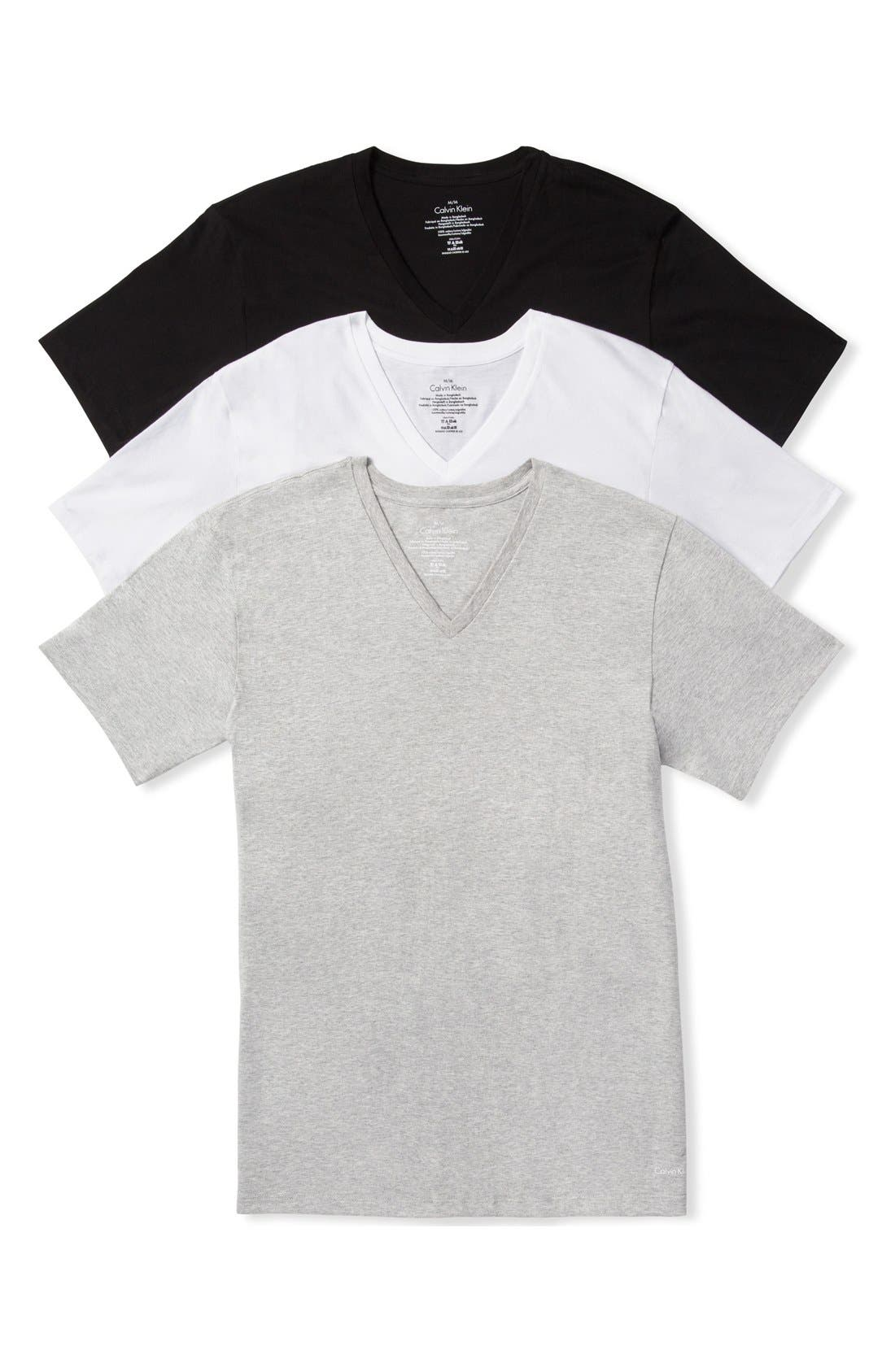 Assorted 3-Pack Classic Fit Cotton V-Neck T-Shirt,                             Main thumbnail 1, color,                             Heather Grey/ White/ Black