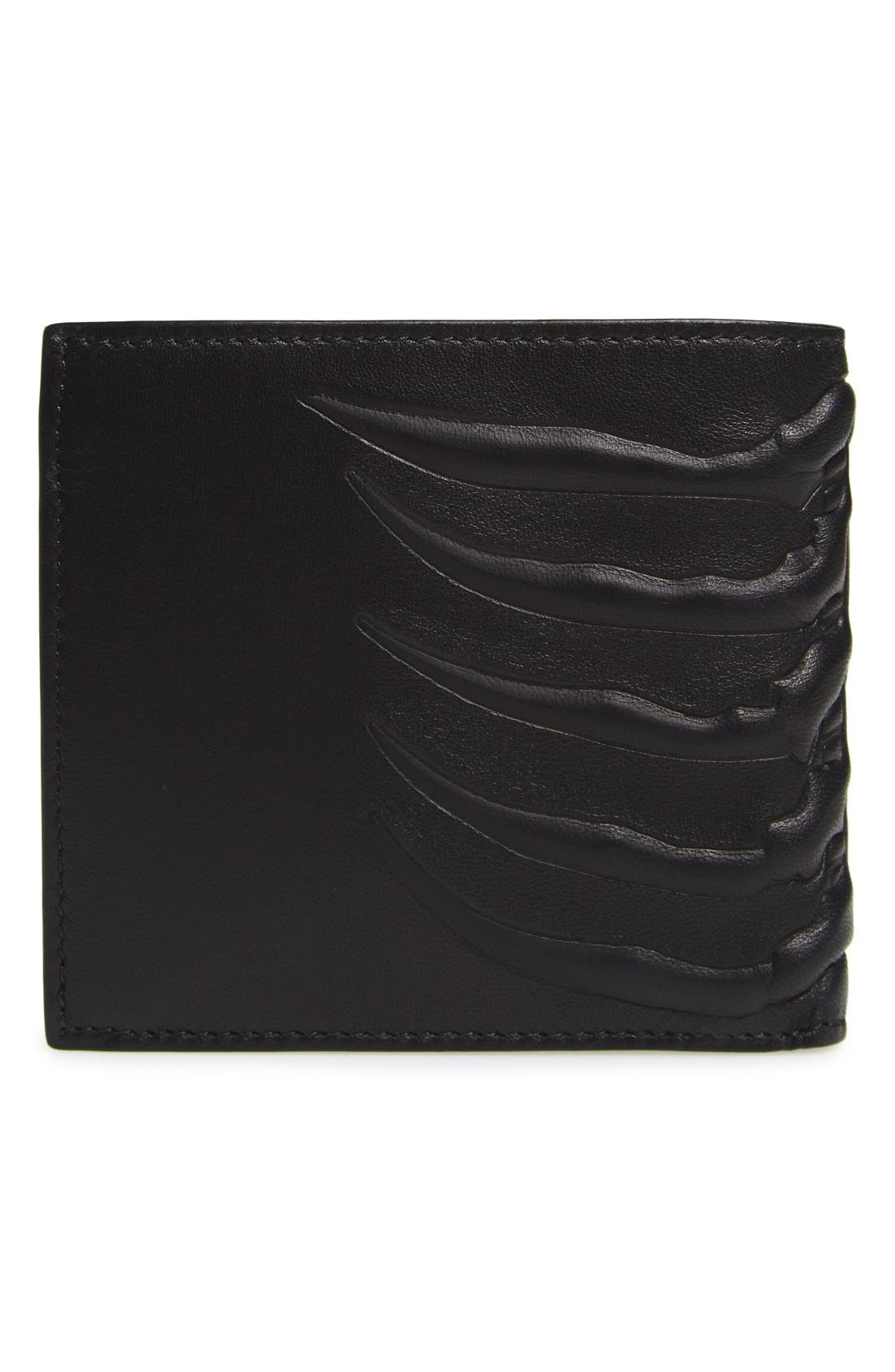 Ribcage Leather Wallet,                             Alternate thumbnail 3, color,                             Black