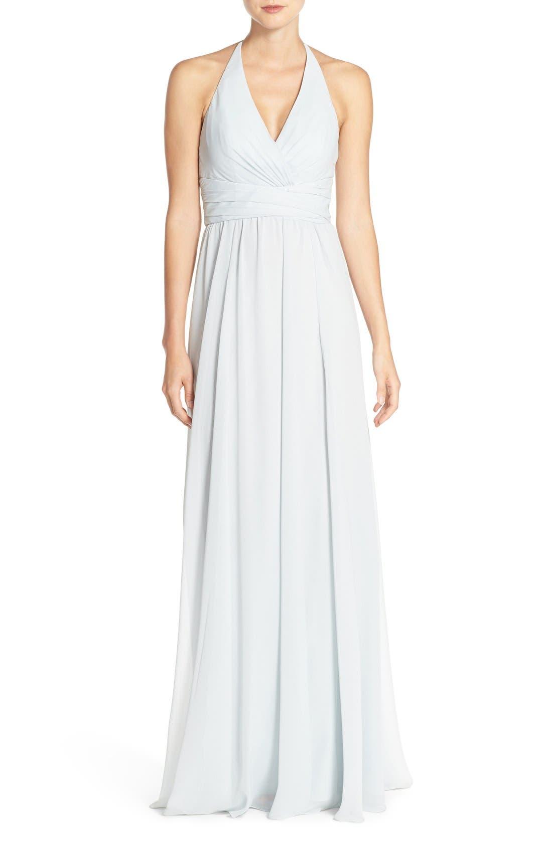 'Jennifer' V-Neck Chiffon Halter Gown,                             Main thumbnail 1, color,                             Spa