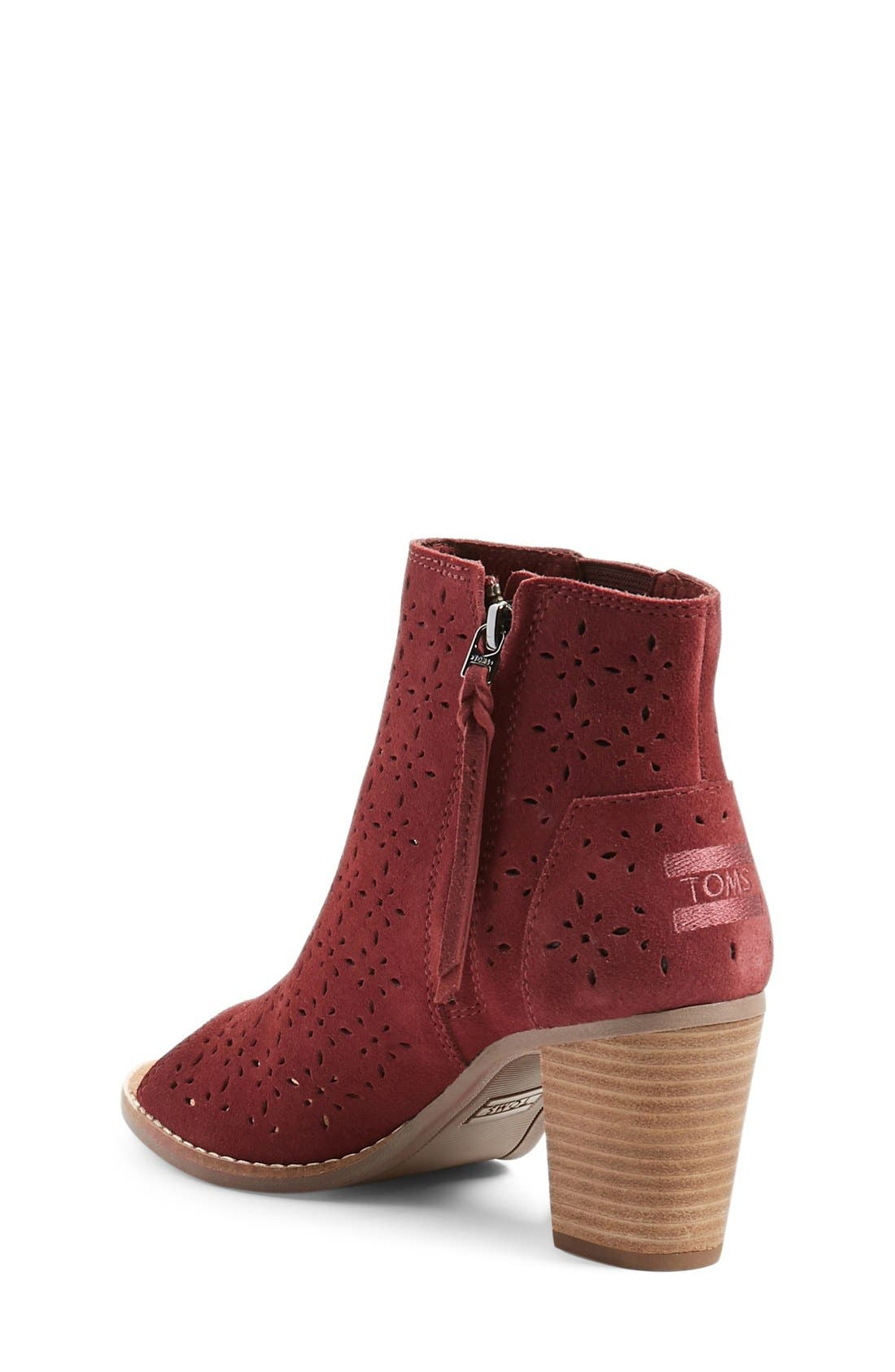 'Majorca' Peep Toe Bootie,                             Alternate thumbnail 2, color,                             Burgundy Suede