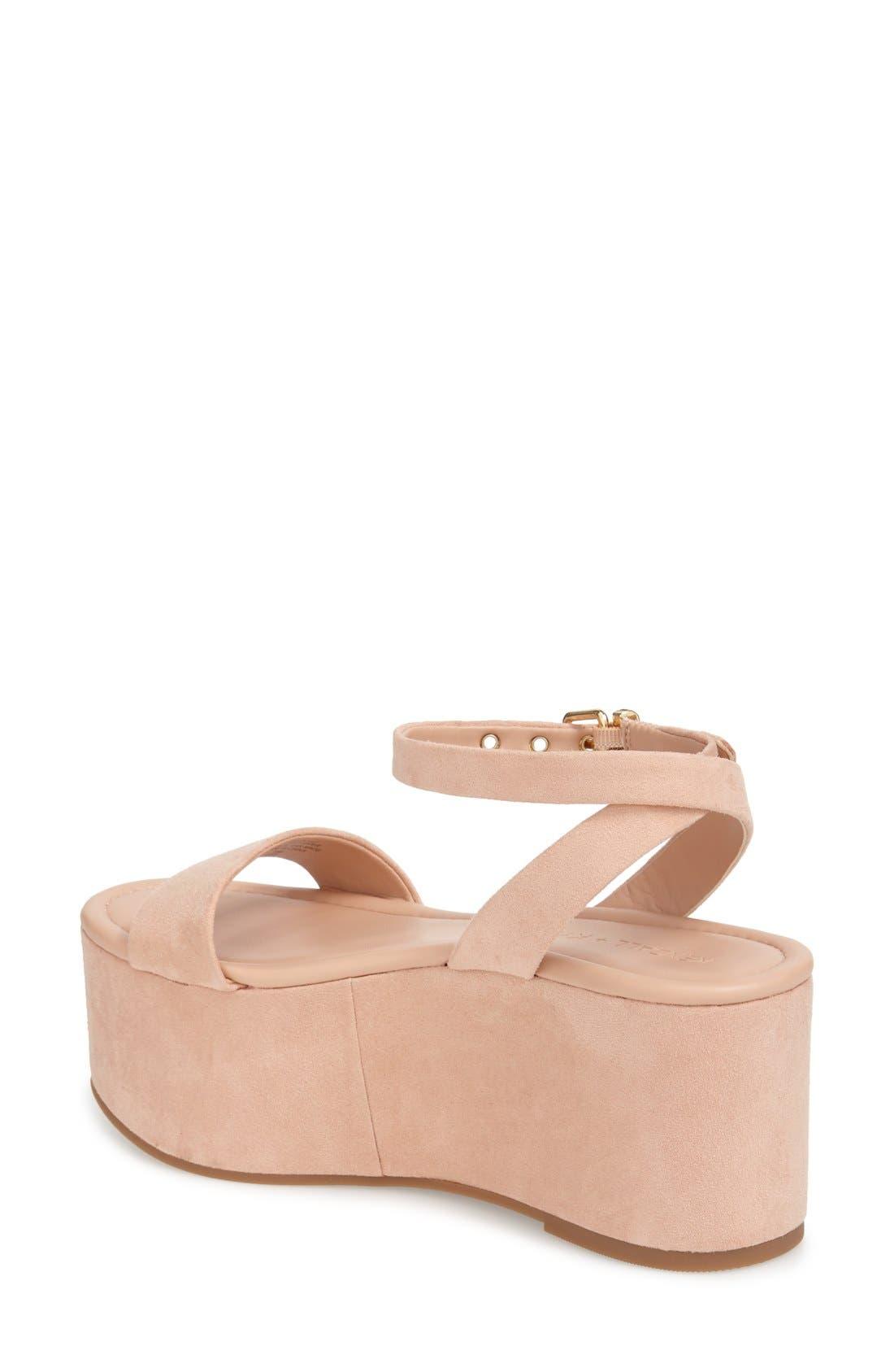 'Demi' Platform Sandal,                             Alternate thumbnail 2, color,                             Blush Suede