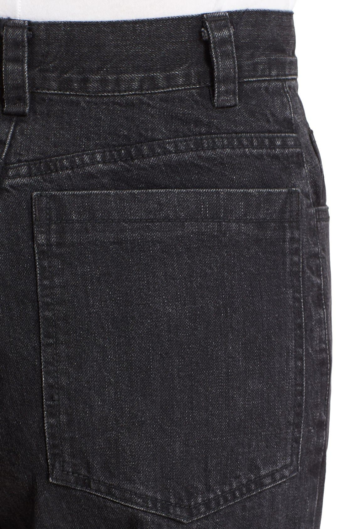 Legion Wide Leg Denim Pants,                             Alternate thumbnail 5, color,                             Washed Black