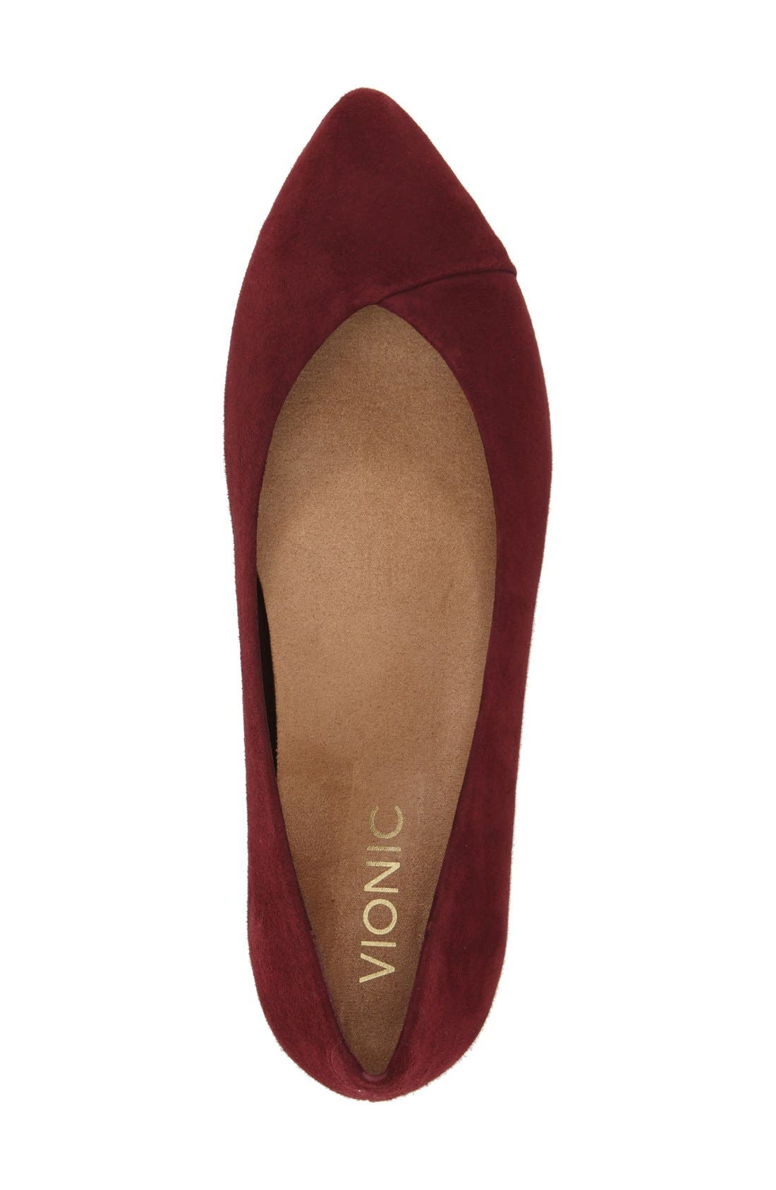 'Caballo' Pointy Toe Flat,                             Alternate thumbnail 4, color,                             Merlot Suede