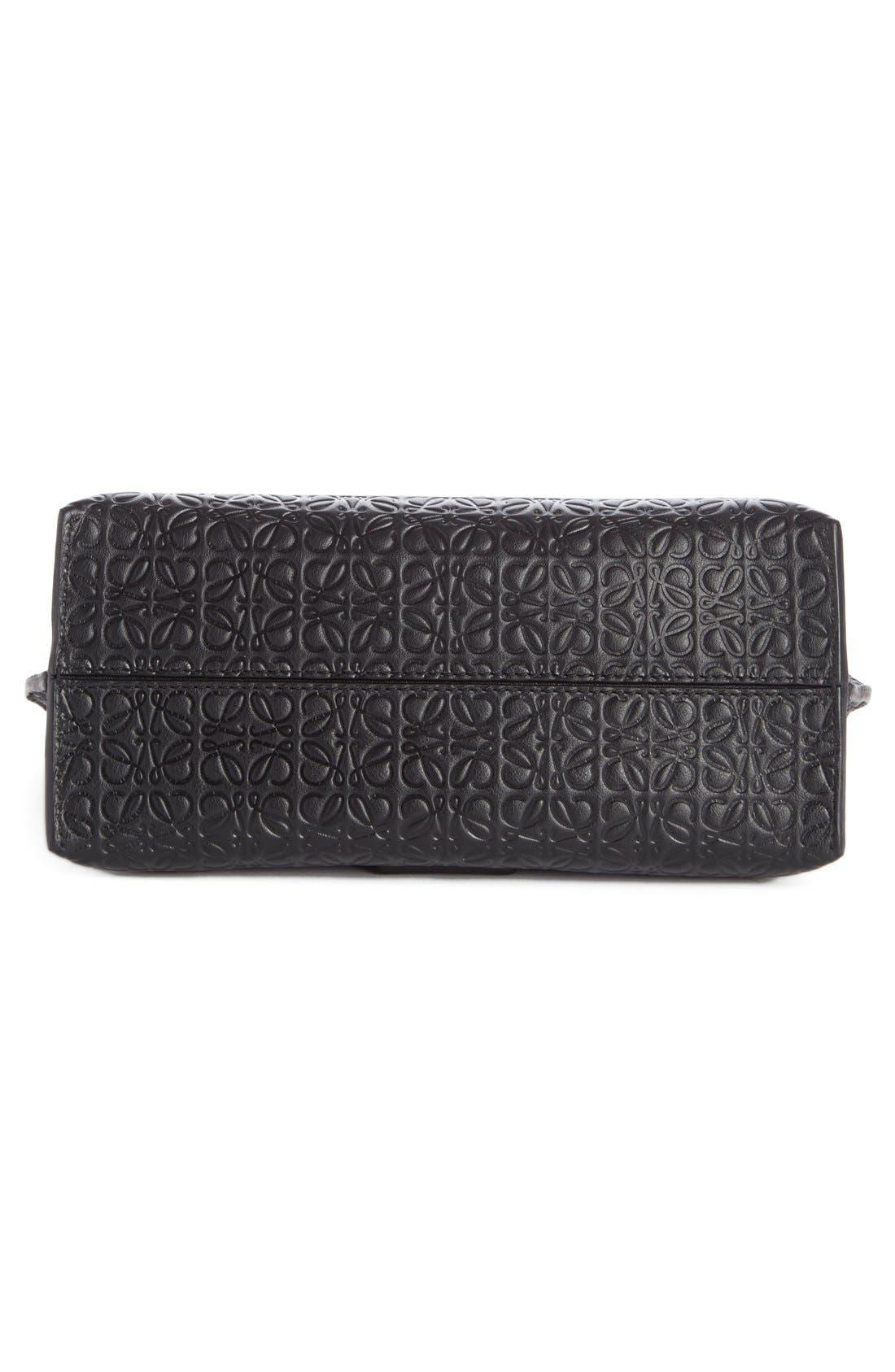 'Avenue' Embossed Calfskin Leather Crossbody Bag,                             Alternate thumbnail 4, color,                             Black
