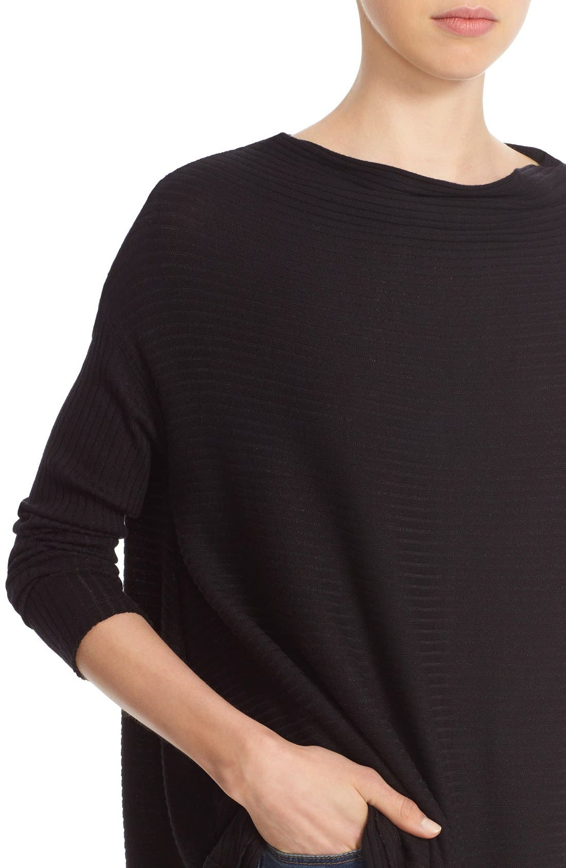 Lover Rib Split Back Pullover,                             Alternate thumbnail 4, color,                             Black