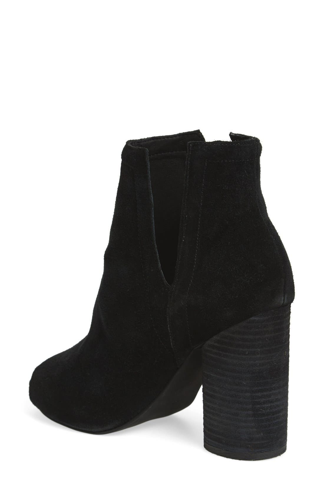 'Oath' Peep Toe Platform Bootie,                             Alternate thumbnail 2, color,                             Black Oiled Suede