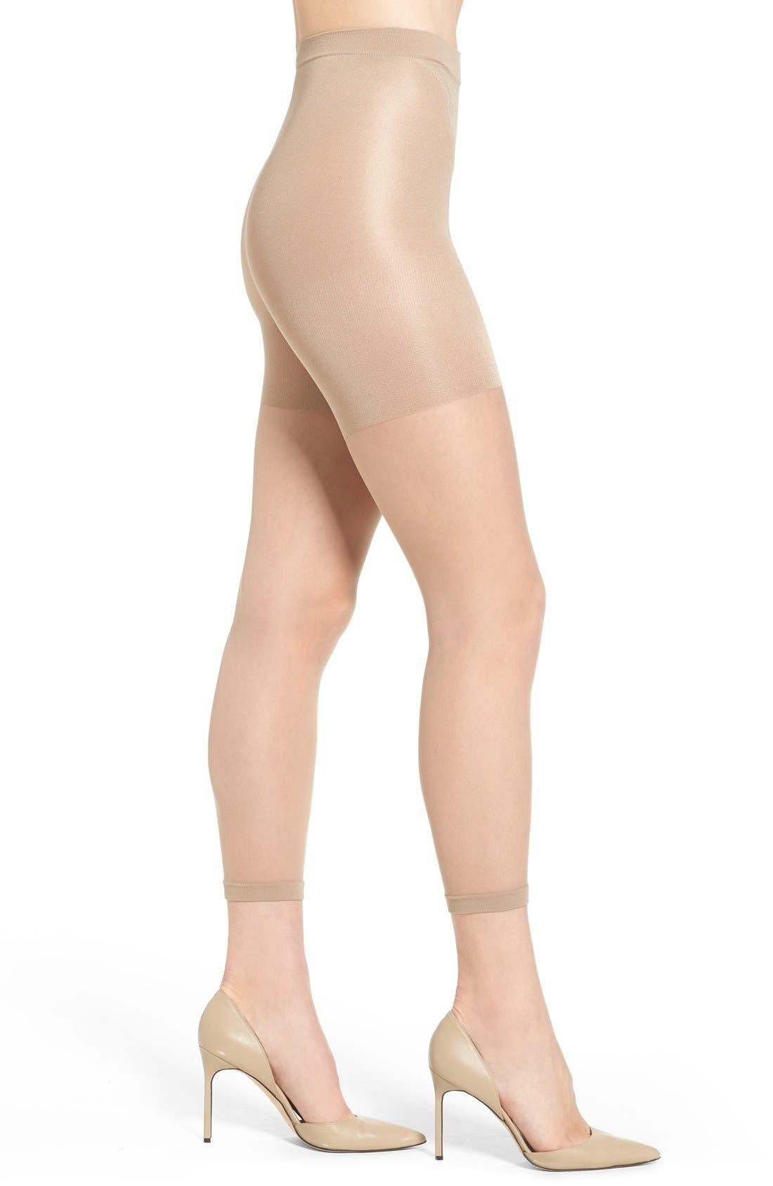 Power Capri Control Top Footless Pantyhose,                         Main,                         color, Nude