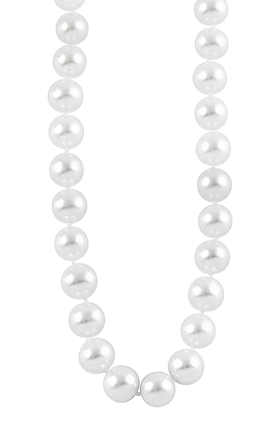 'Luna' 10mm Pearl Necklace,                             Alternate thumbnail 3, color,                             Silver/ Pearl