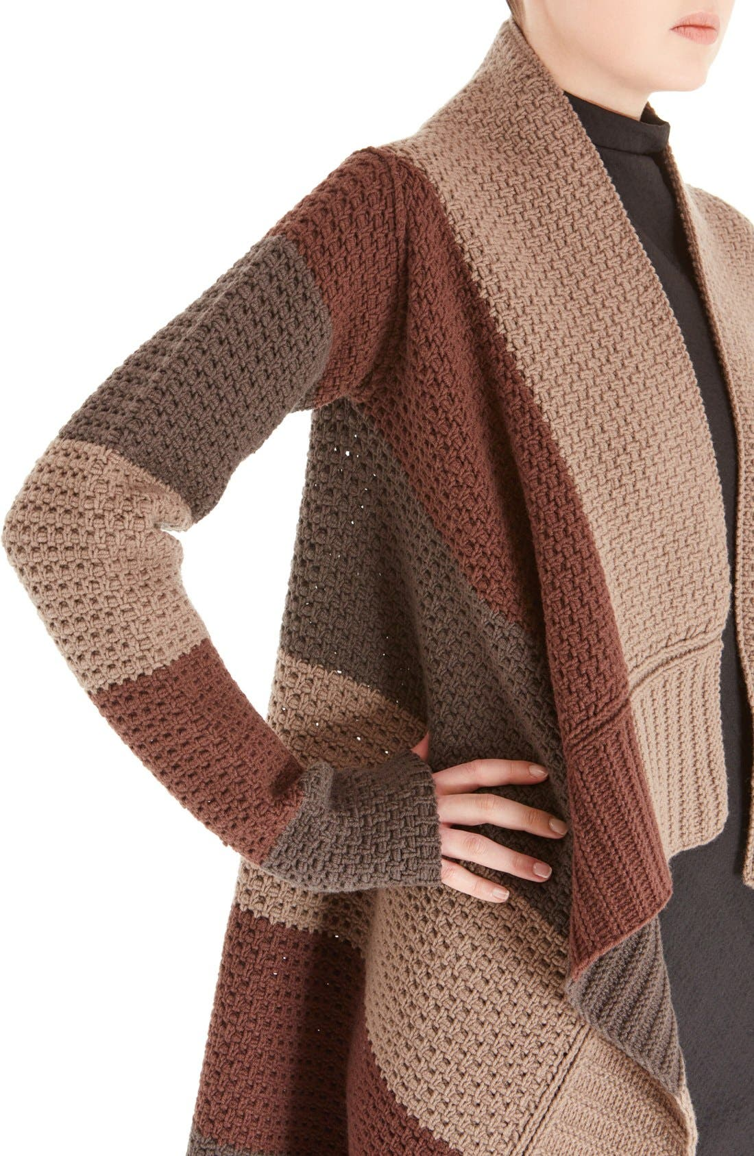 Alternate Image 5  - Rick Owens Stripe Drape Front Wool Cardigan