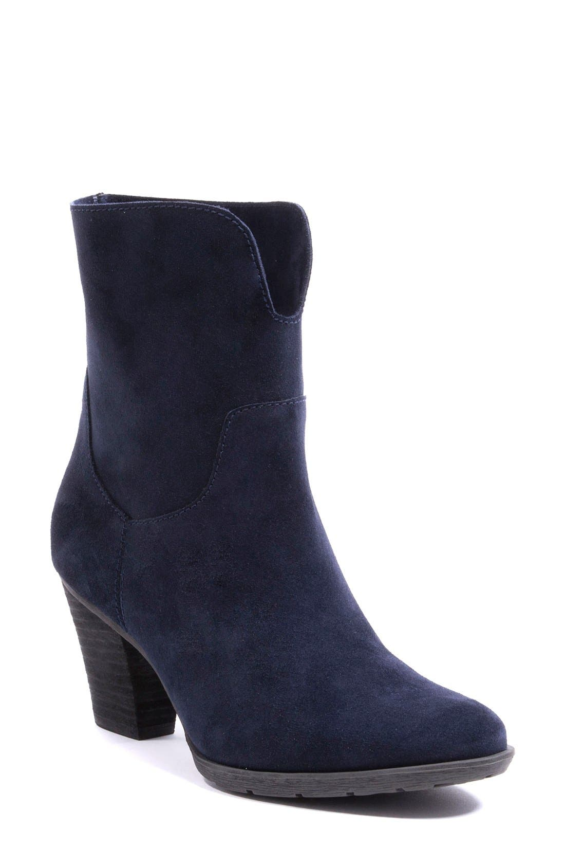 Fay Waterproof Ankle Boot,                             Alternate thumbnail 3, color,                             Navy Suede