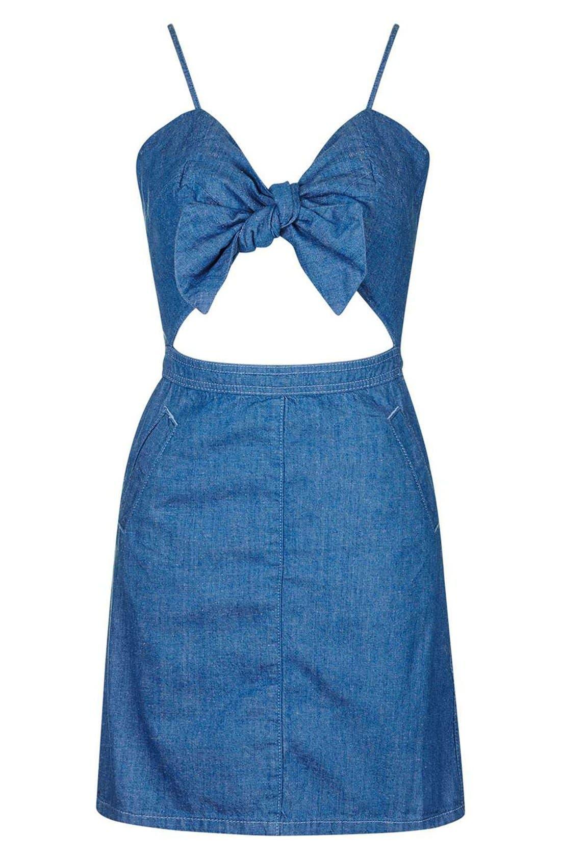 Alternate Image 3  - Topshop Bow Front Denim Minidress (Petite)
