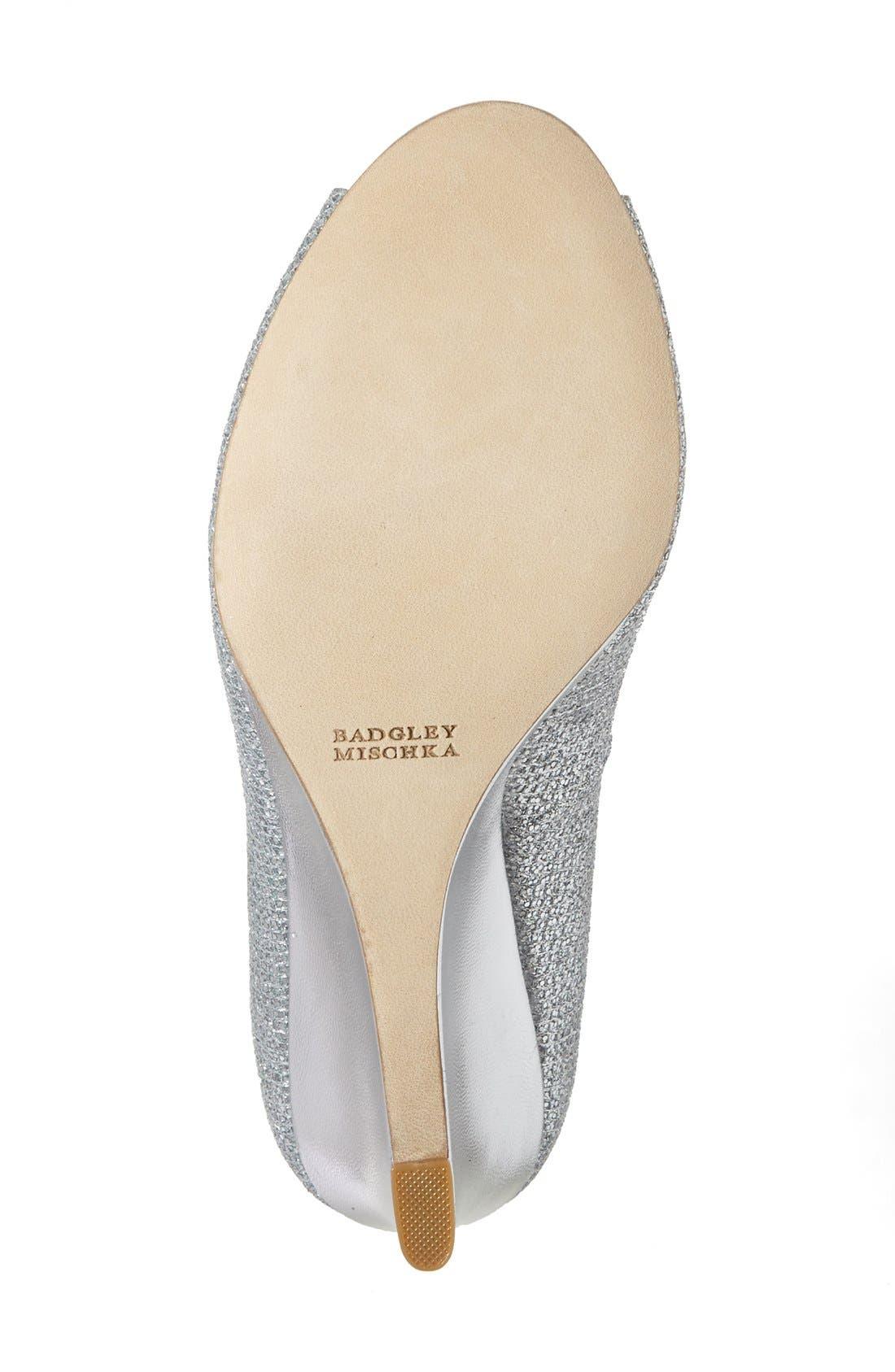 'Awake' Embellished Peep Toe Wedge Pump,                             Alternate thumbnail 4, color,                             Silver Glitter Fabric