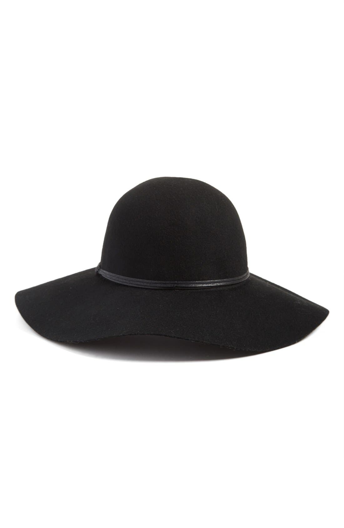 Floppy Wool Hat,                             Main thumbnail 1, color,                             Black