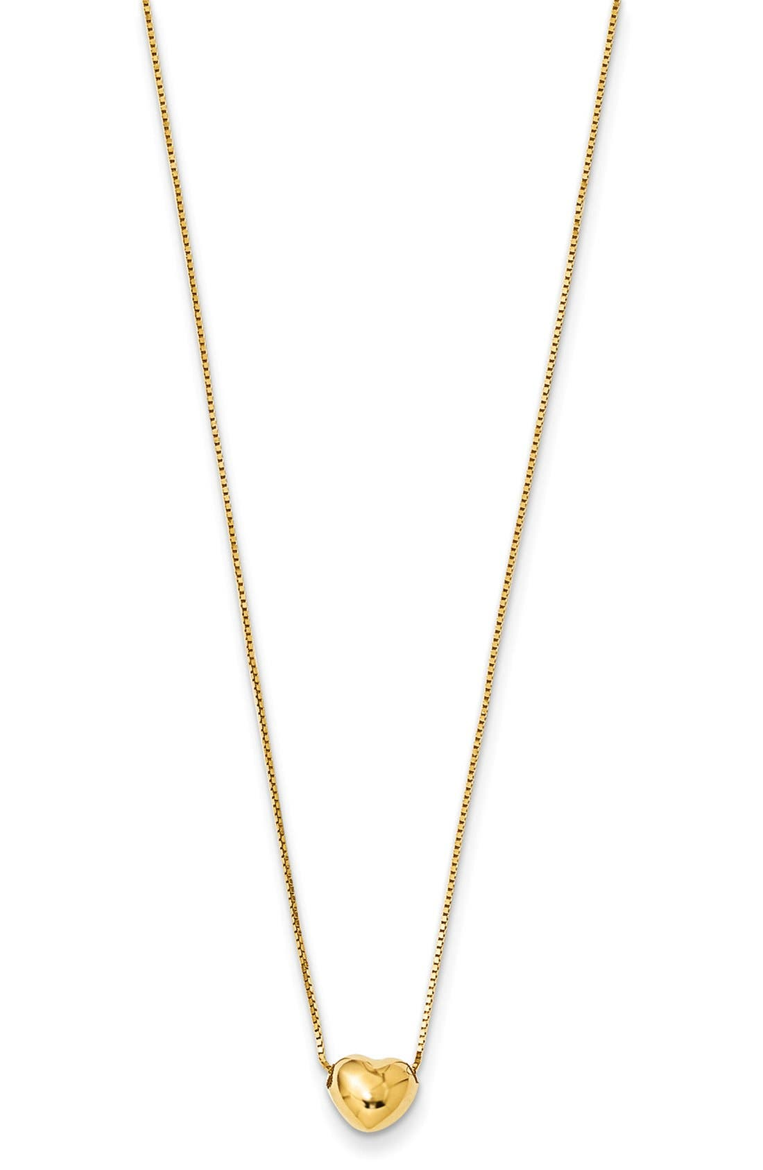 Heart Pendant Necklace,                         Main,                         color, Yellow Gold
