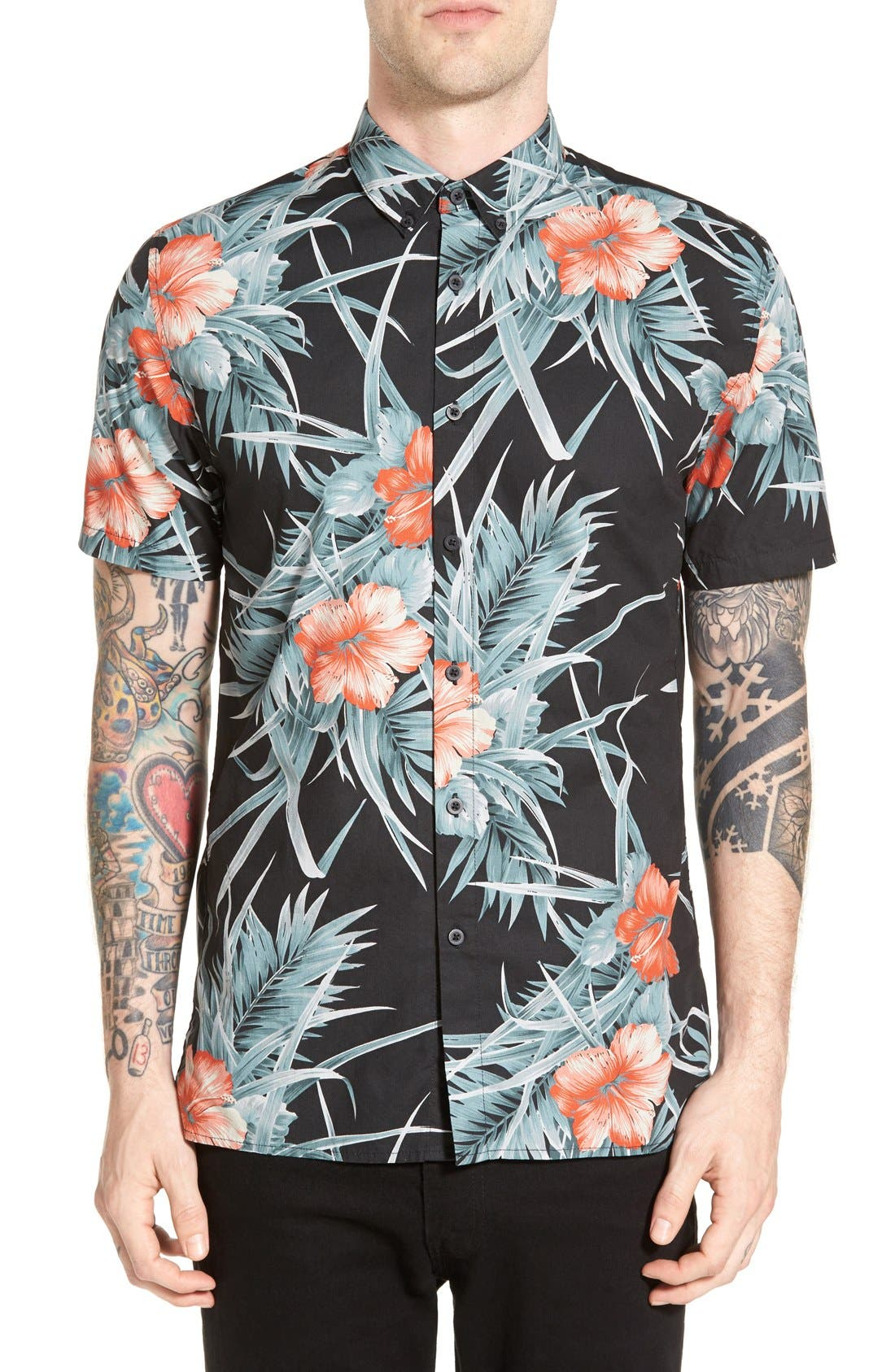 Alternate Image 1 Selected - Barney Cools Trim Fit Floral Print Woven Shirt