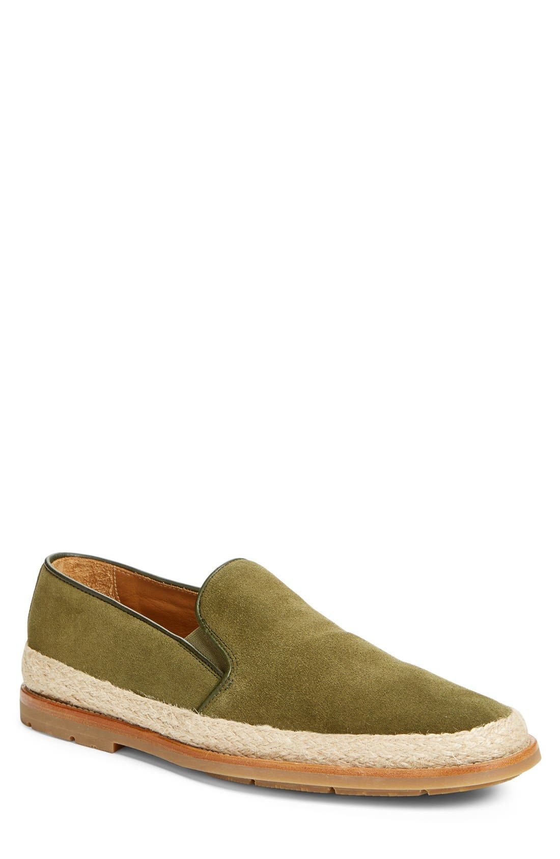 'Zayn' Weatherproof Espadrille,                             Main thumbnail 1, color,                             Green Suede