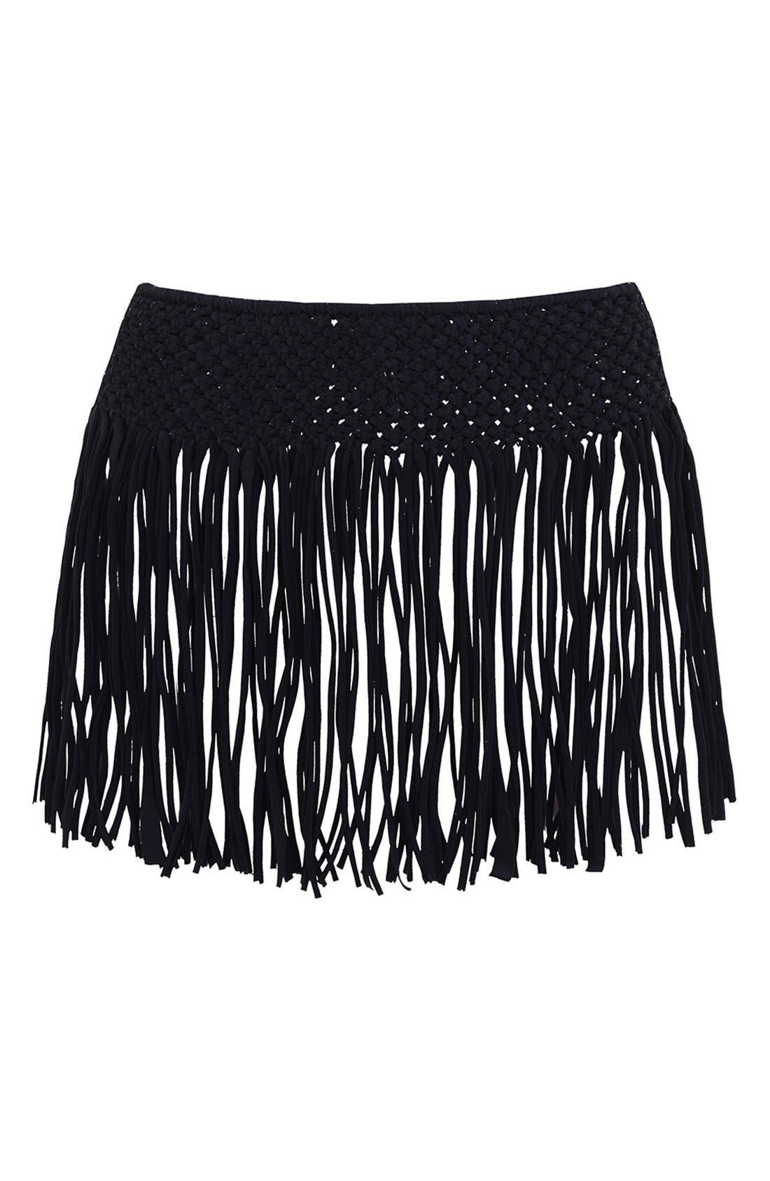 Main Image - KENDALL + KYLIE at Topshop Macramé Fringe Cover-Up Skirt