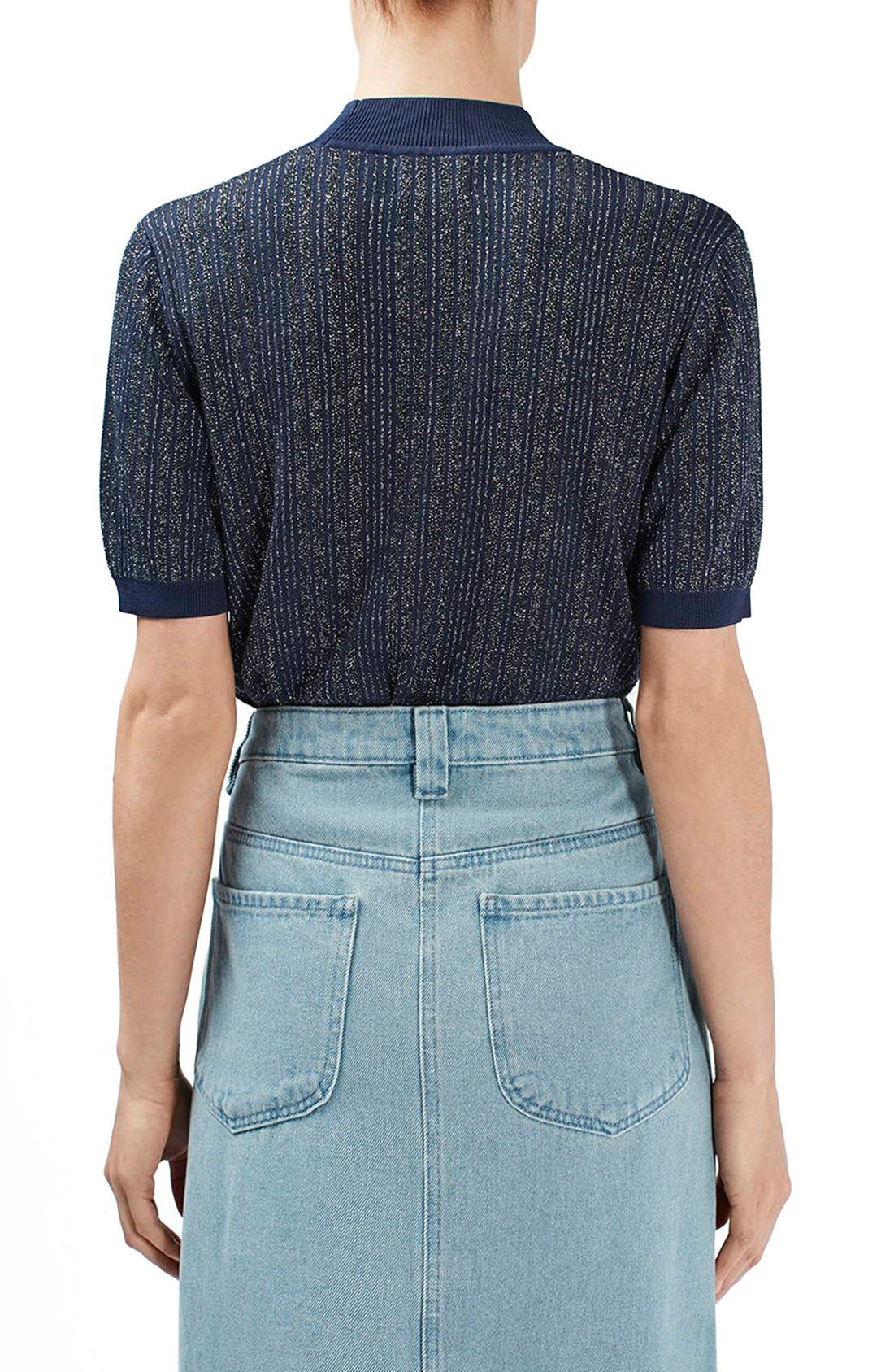Alternate Image 3  - Topshop Unique 'Lamont' Short Sleeve Metallic Stripe Sweater