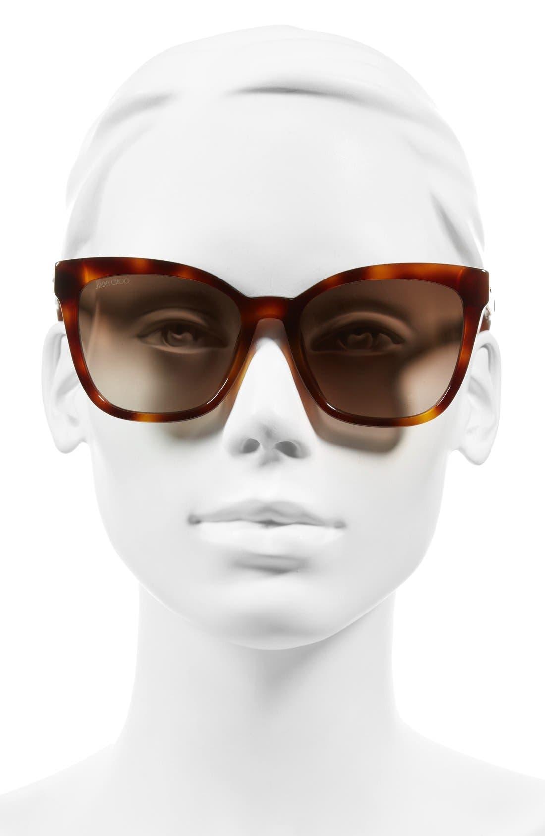 55mm Retro Sunglasses,                             Alternate thumbnail 2, color,                             Havana