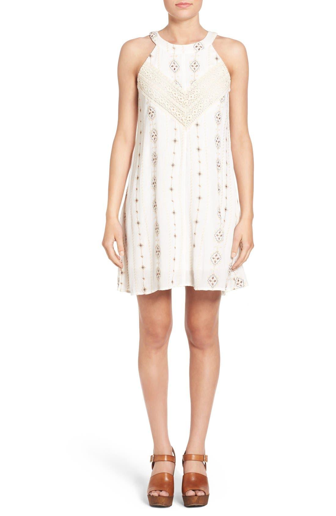 Main Image - Roxberi Elle Crochet Inset Embroidered Shift Dress
