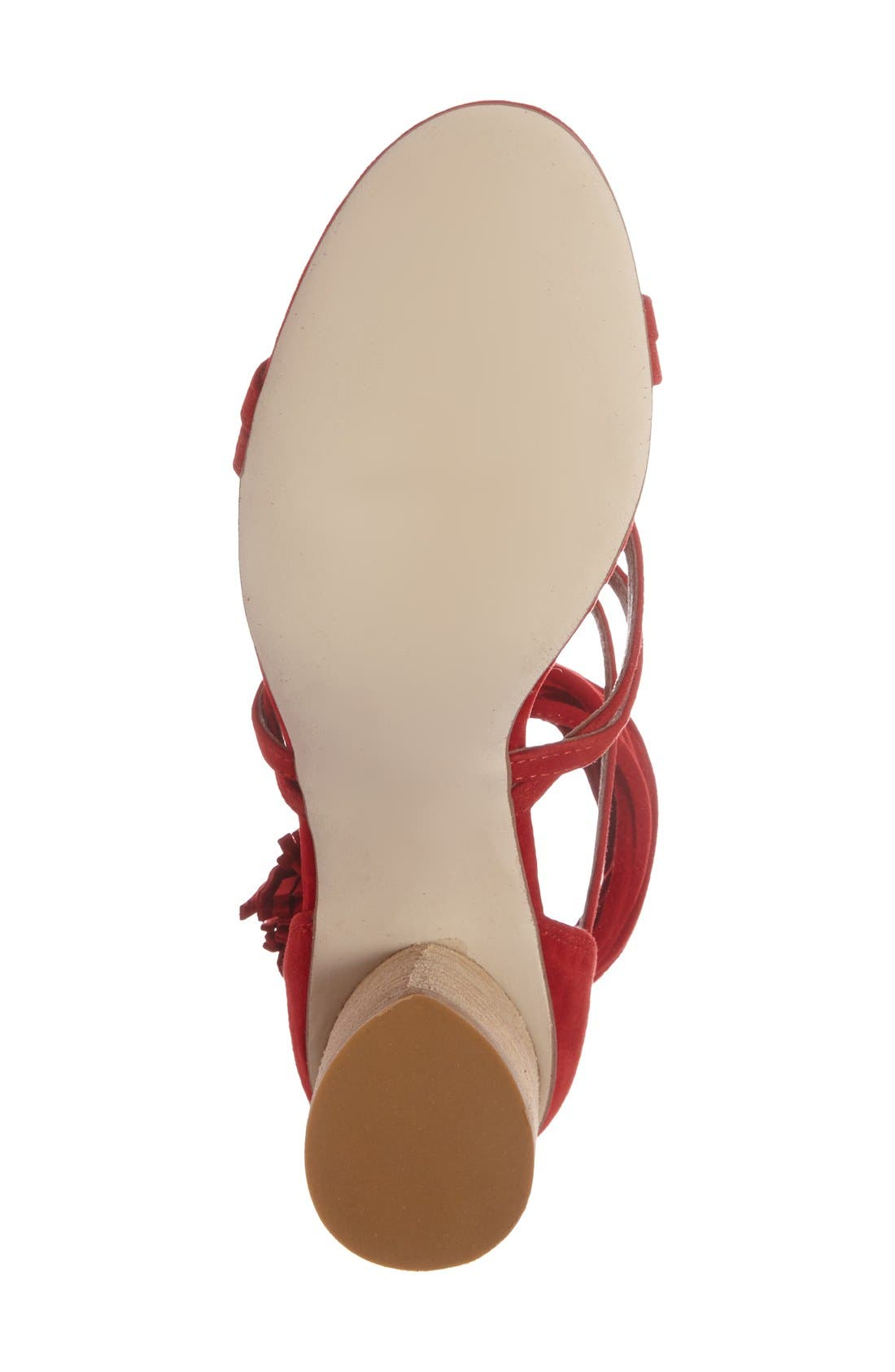 'Despina' Strappy Sandal,                             Alternate thumbnail 4, color,                             Red Suede