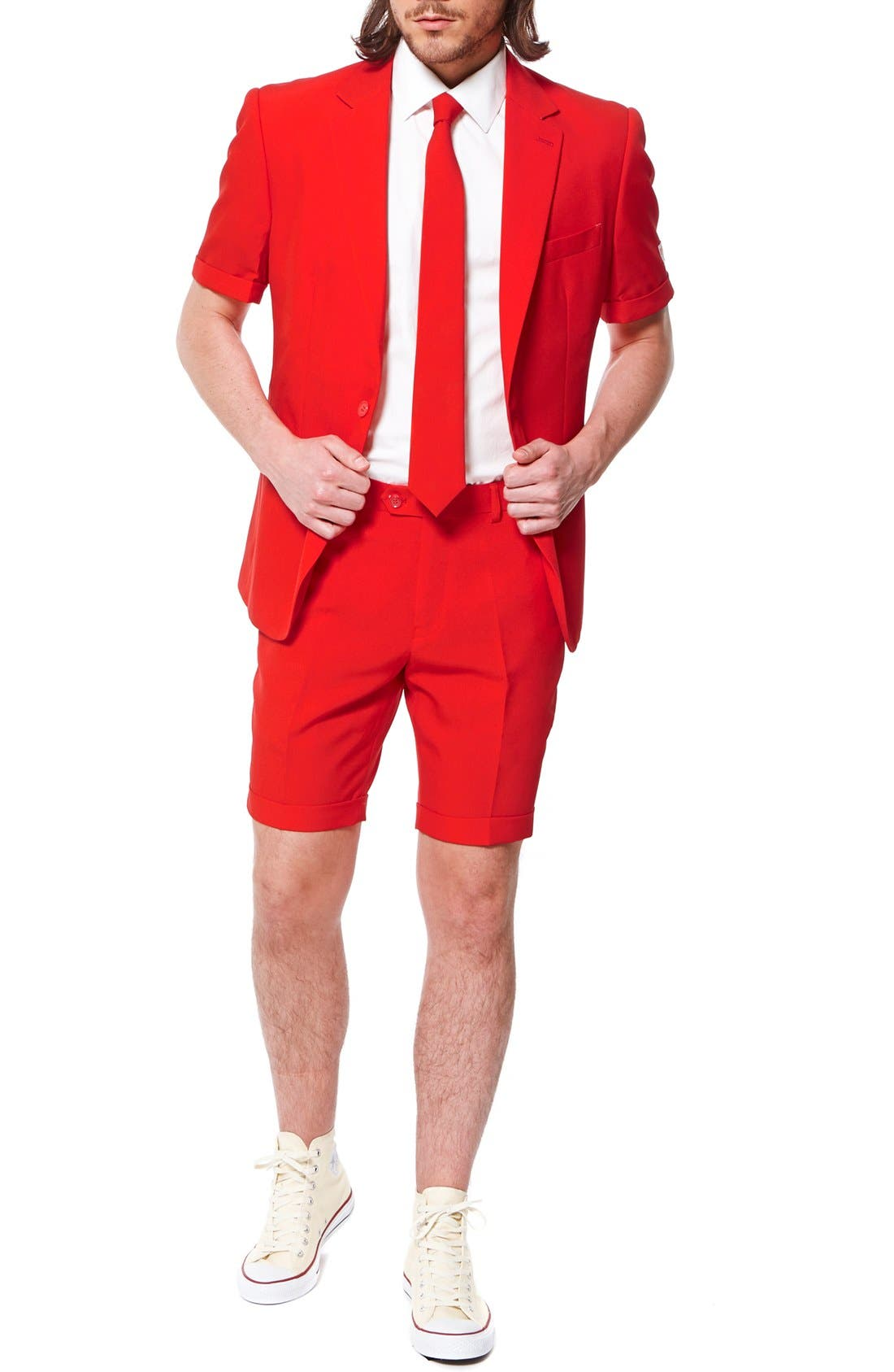 'Summer Red Devil' Trim Fit Short Suit with Tie,                             Main thumbnail 1, color,                             Medium Red