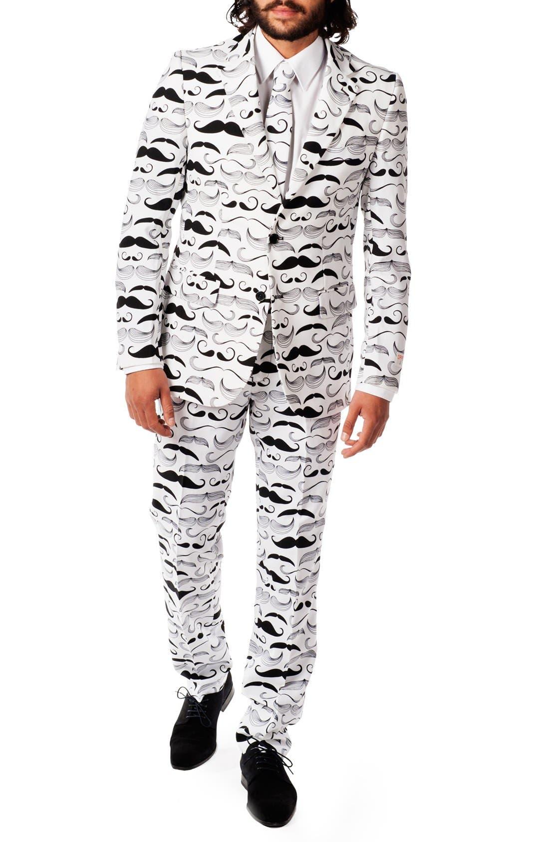'Tashtastic' Trim Fit Two-Piece Suit with Tie,                             Main thumbnail 1, color,                             White