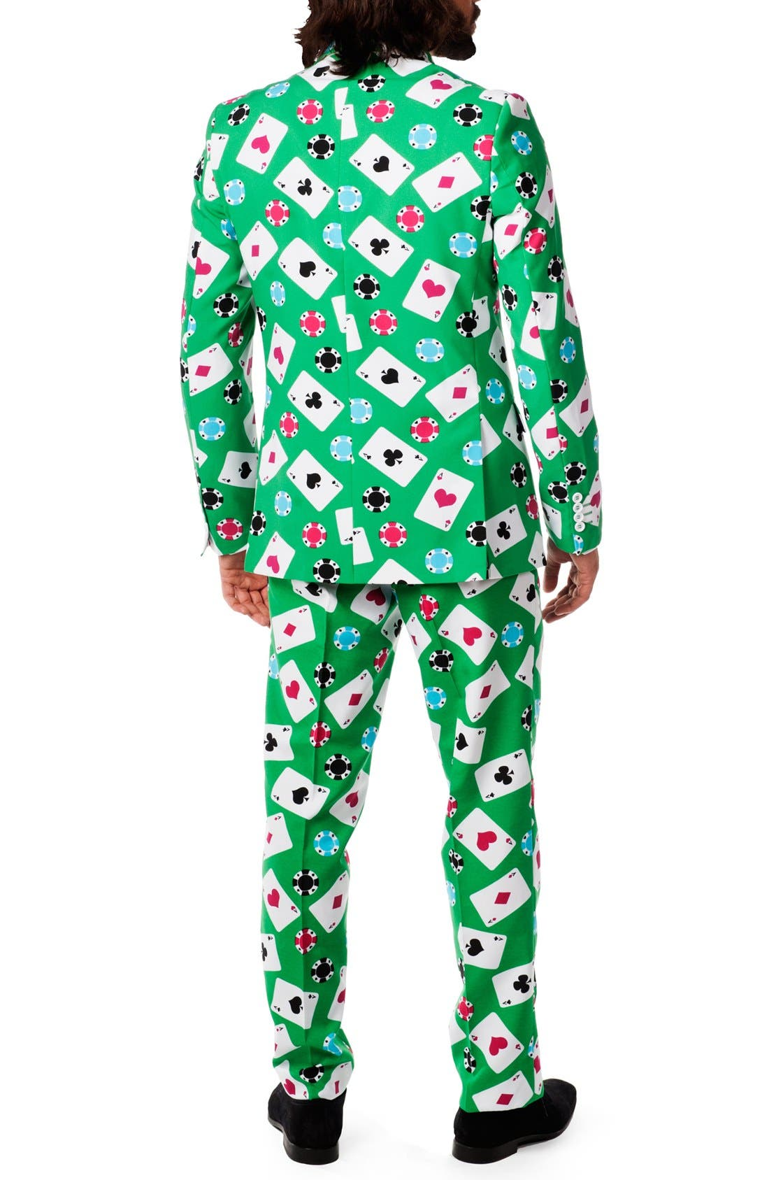 'Poker Face' Trim Fit Suit with Tie,                             Alternate thumbnail 2, color,                             Green