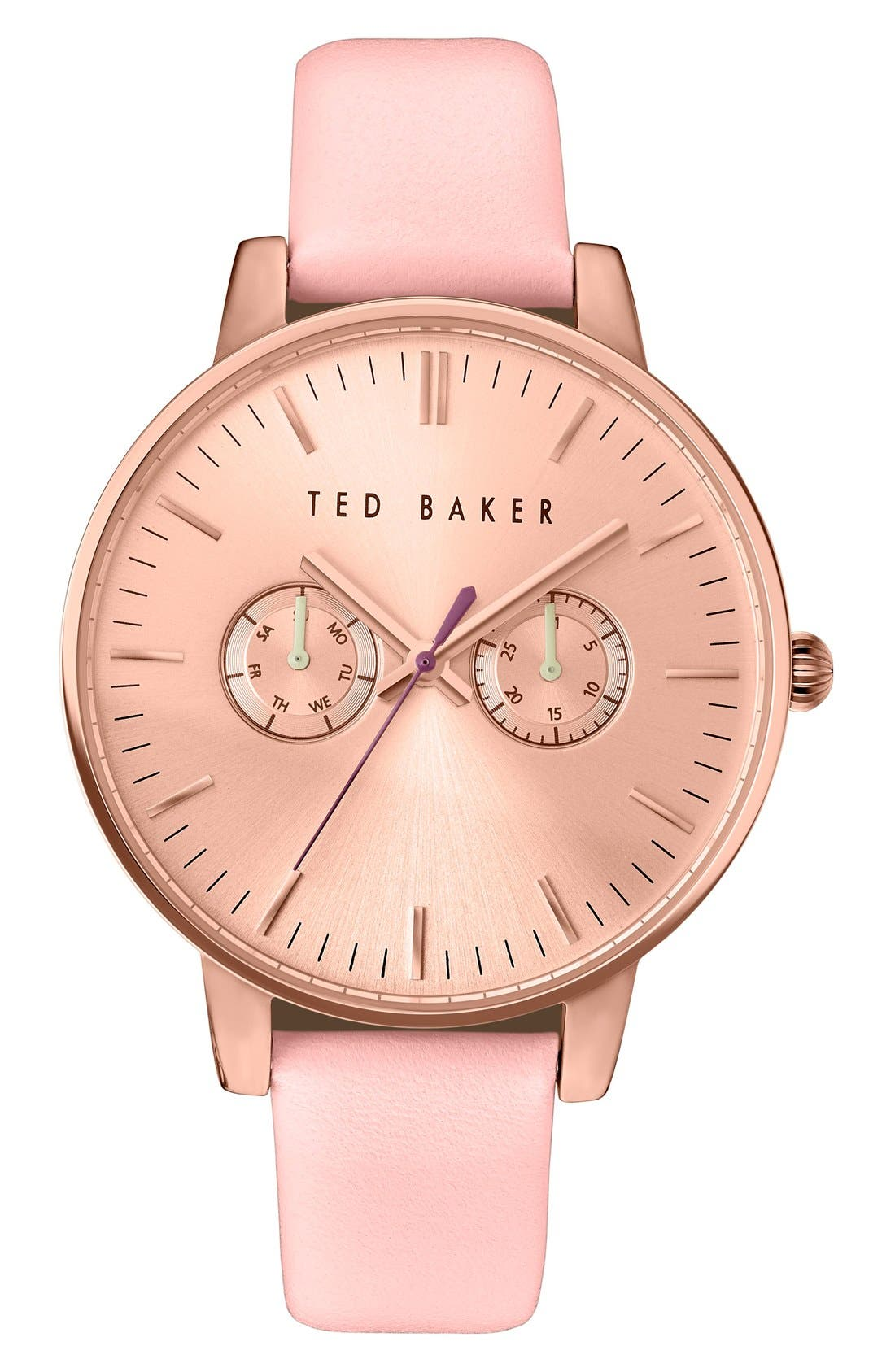 Ted Baker London 'Dress Sport' Multifunction Leather Strap Watch, 40mm
