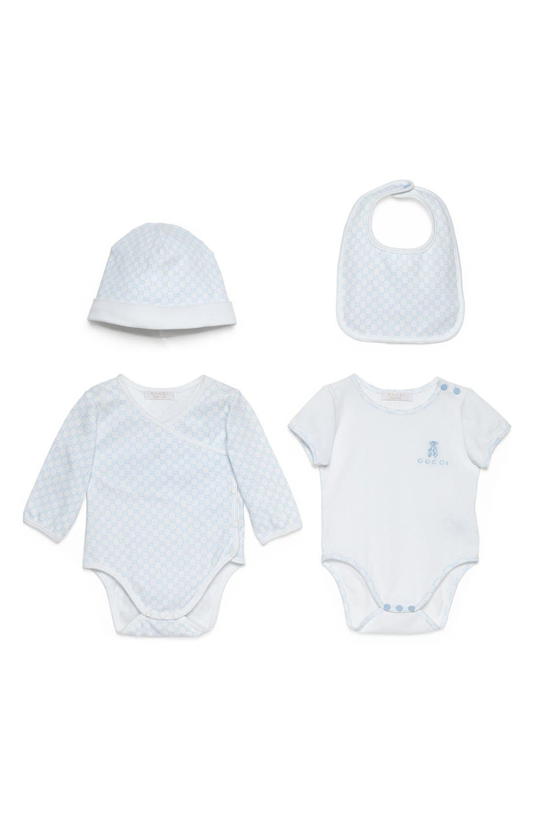 Gucci Short Sleeve Bodysuit, Long Sleeve Bodysuit, Hat & Bib Set (Baby)