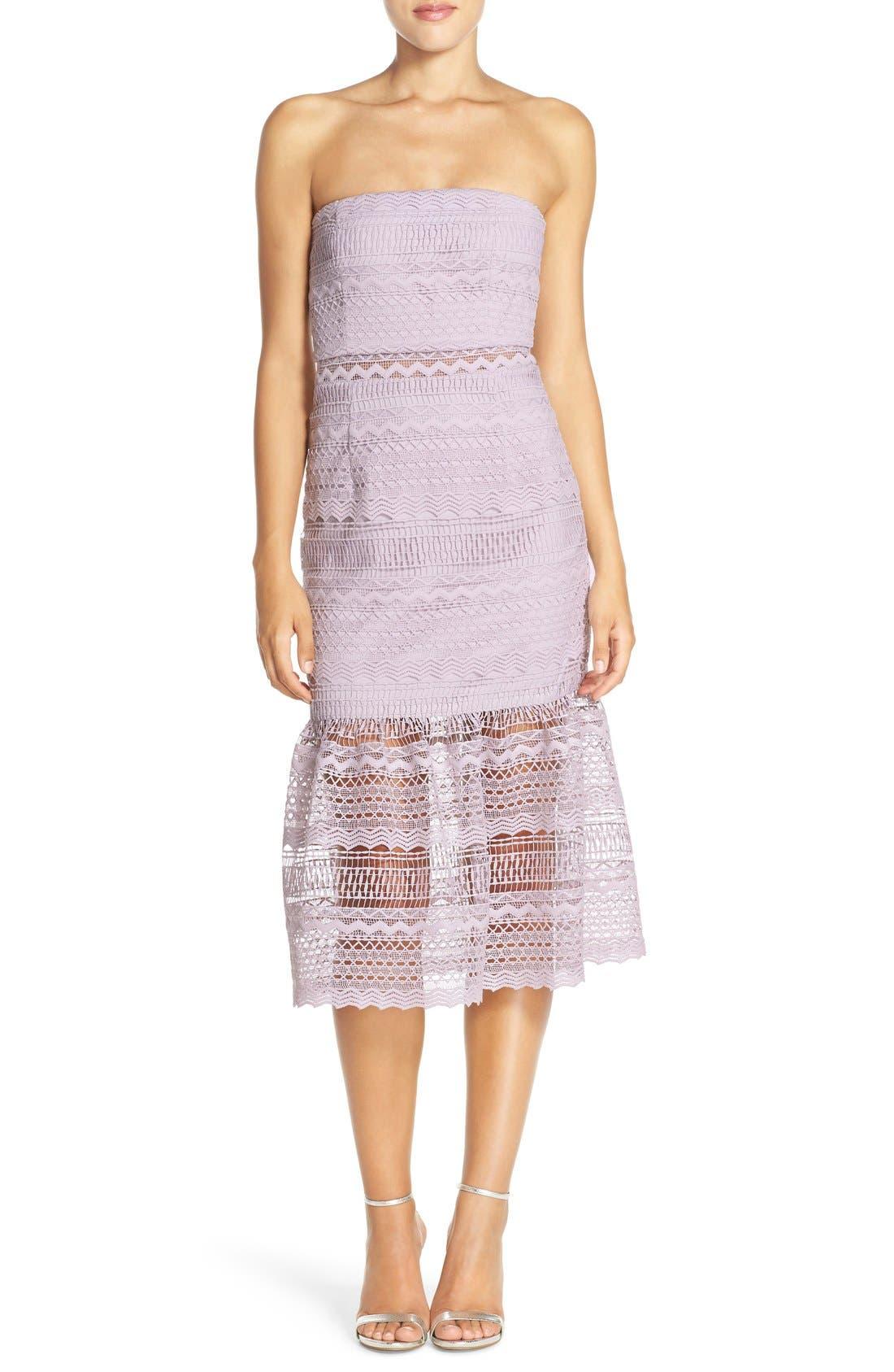 Main Image - Bardot 'Lily' Strapless Lace Midi Dress