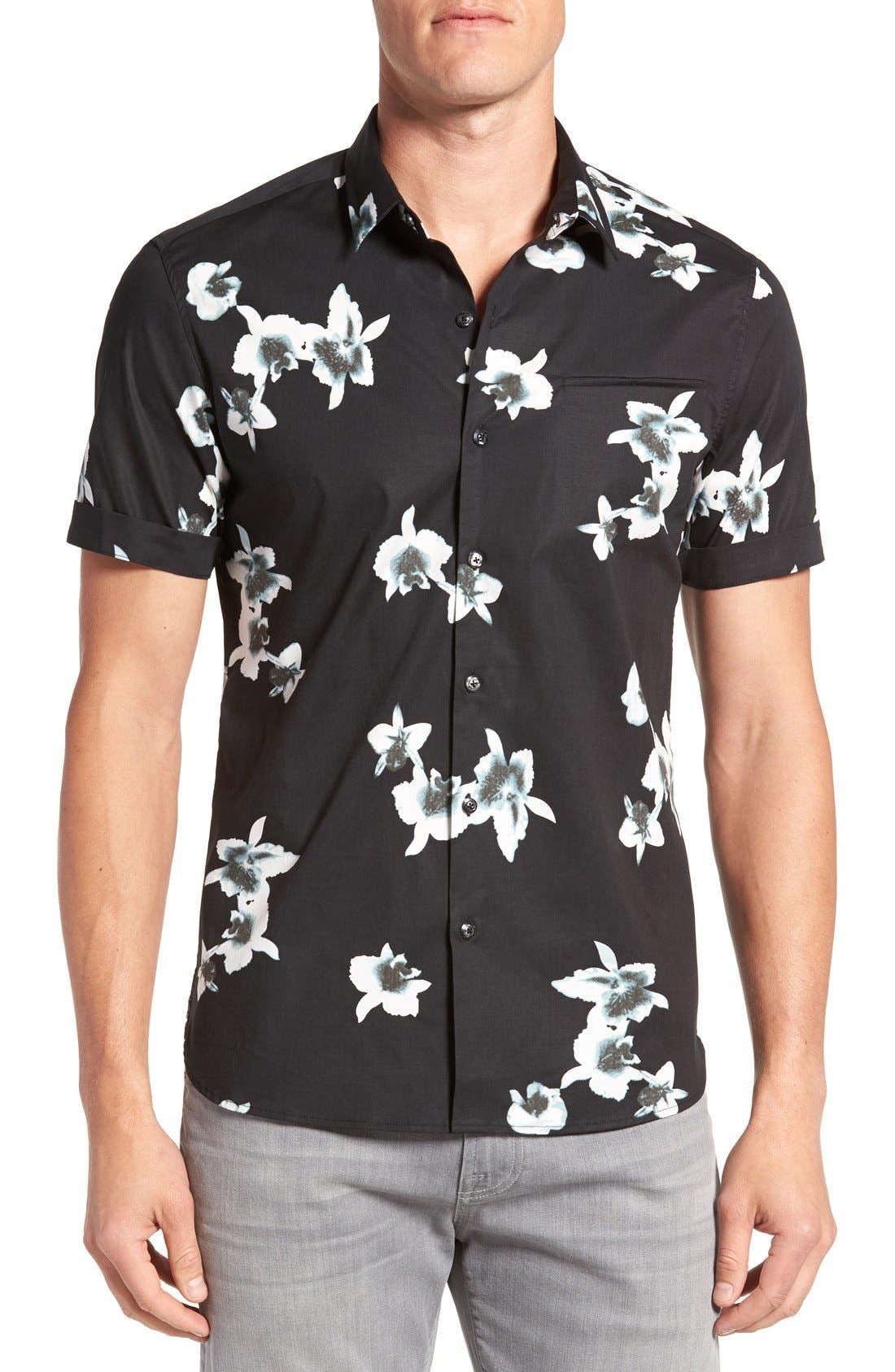 'My Wish' Short Sleeve Floral Print Sport Shirt,                             Main thumbnail 1, color,                             Black